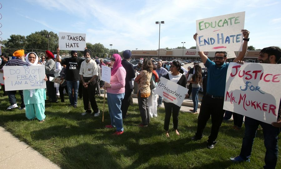 More than 100 people attended a Tuesday morning rally organized by the Sikh Coalition one week after a Darien man was attacked in what's being called a hate crime.