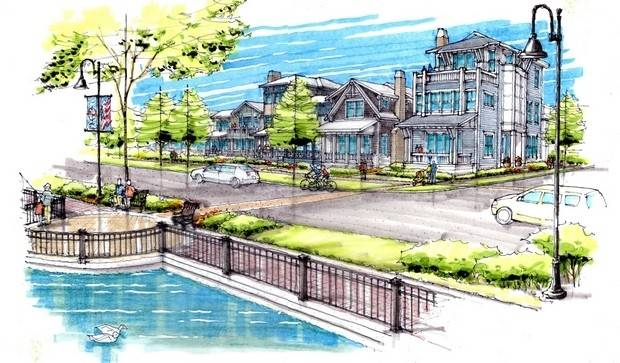This is a rendering of StreetScape Development LLC's plan to build 17 single-family homes on taxpayer-owned waterfront property in downtown Lake Zurich.