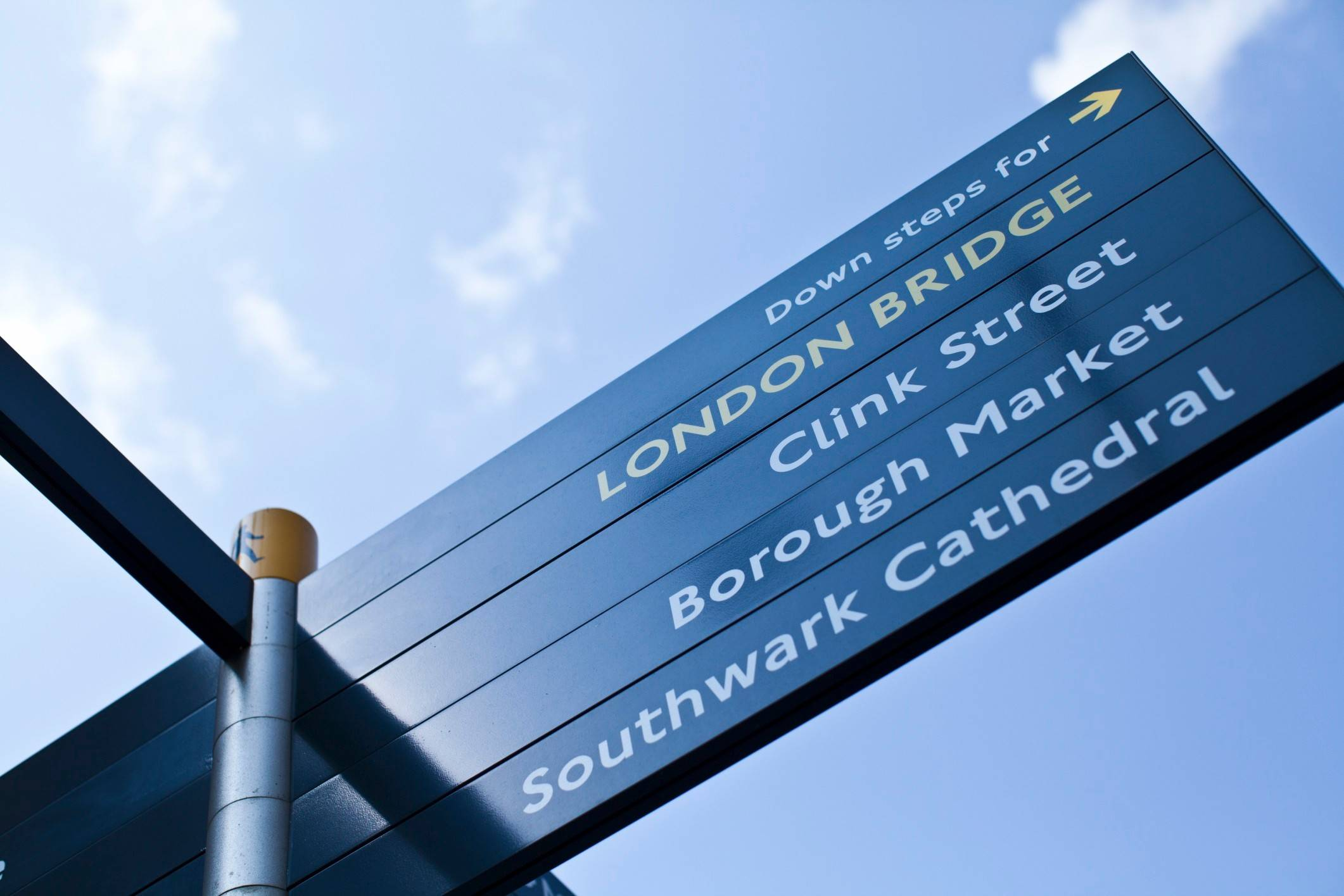 A street sign in London shows the way to Borough Market and London Bridge among other destinations.