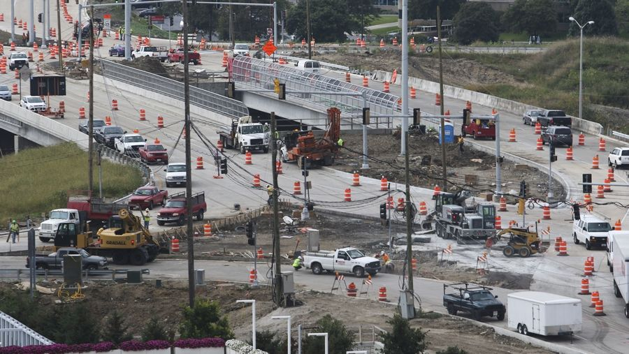 Work continues on the new diverging diamond interchange at Route 59 and I-88, set to open Monday morning.