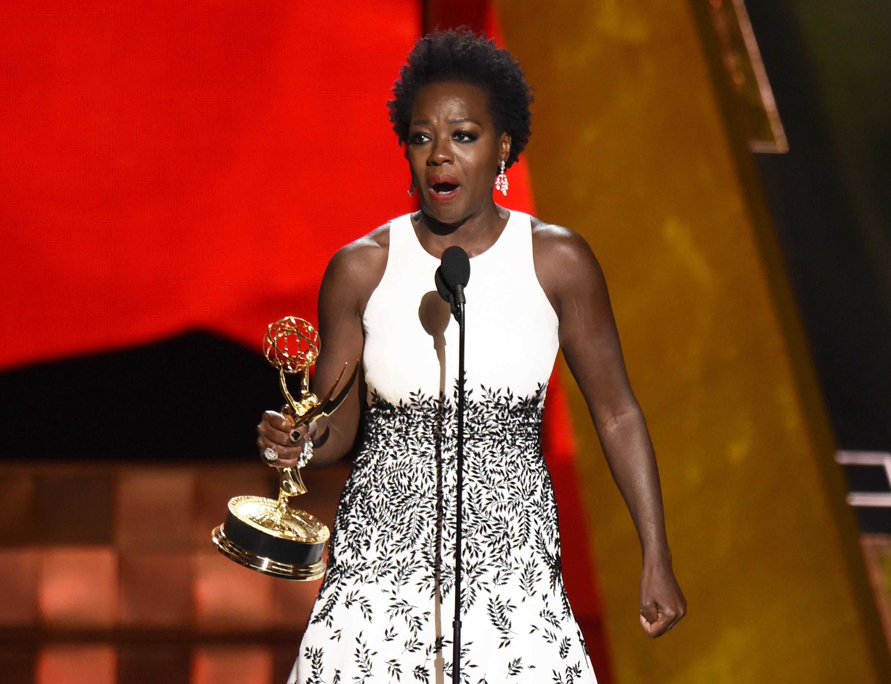 "Viola Davis accepts the award for outstanding lead actress in a drama series for ""How to Get Away With Murder""at the 67th Primetime Emmy Awards on Sunday, Sept. 20, 2015, at the Microsoft Theater in Los Angeles."