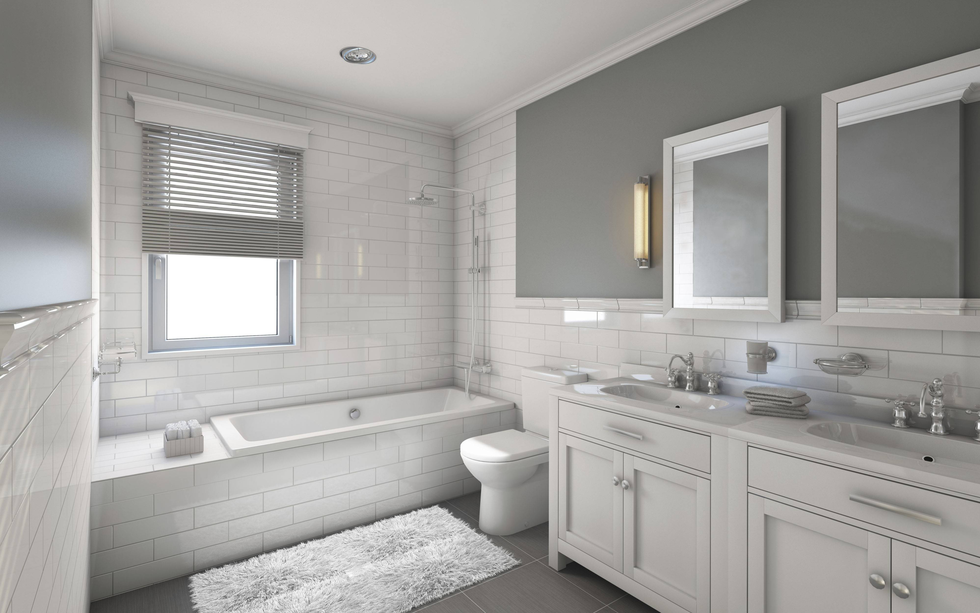 White and gray is a popular color choice for the modern bathroom.