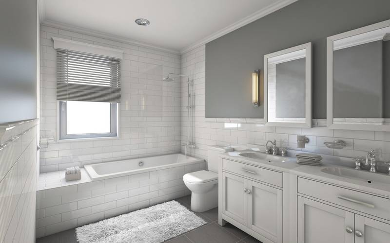 white and gray is a popular color choice for the modern bathroom - Updated Bathrooms Designs