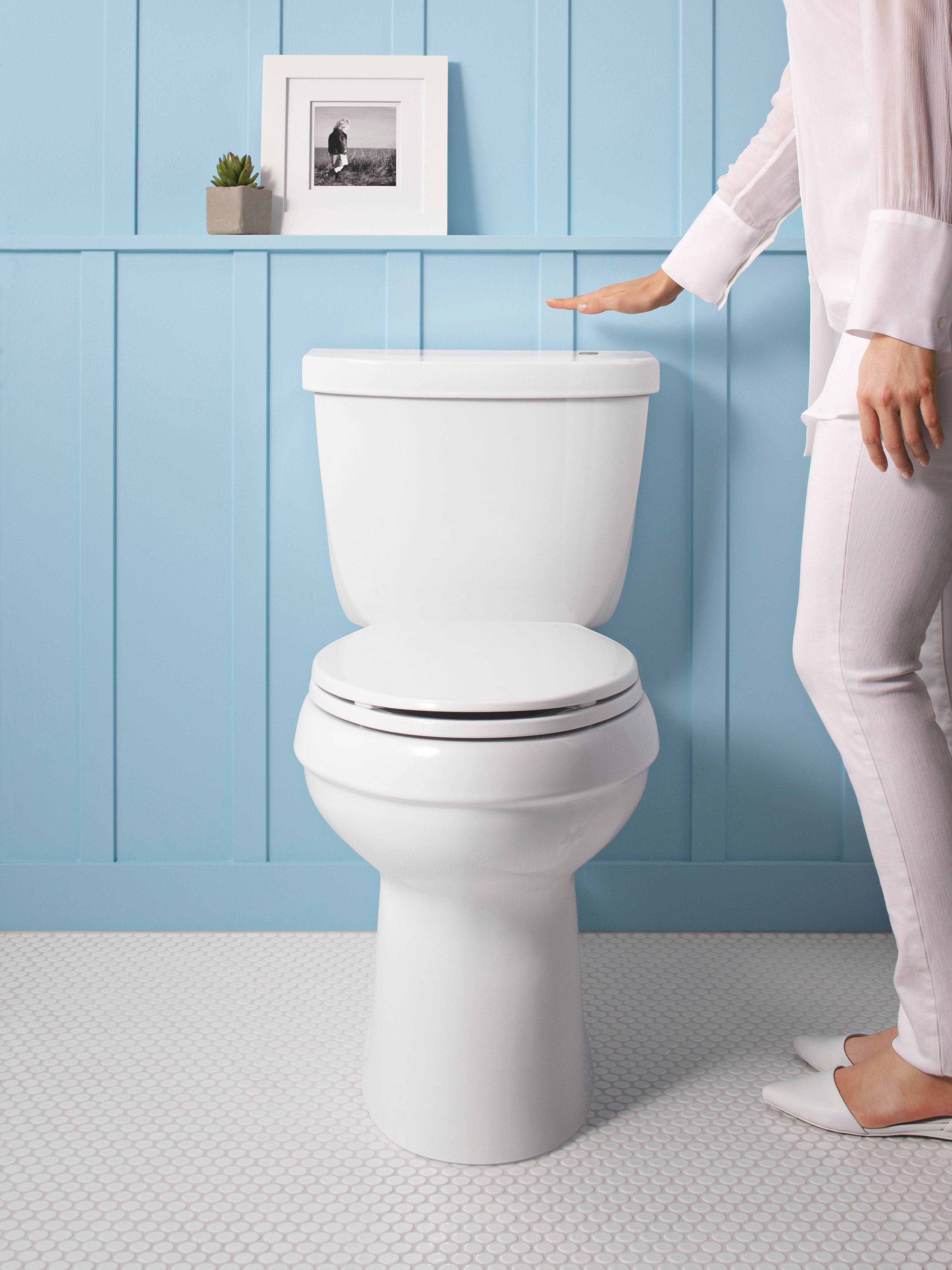 Hands-free flushing, like on this Kohler toilet, is activated by the wave of the hand. It is an increasingly popular feature to help decrease the spread of germs.