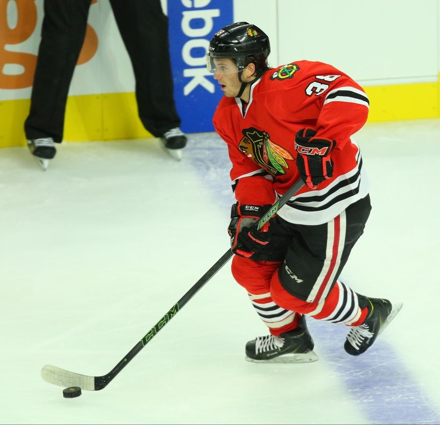 Ryan Hartman skates during the Hawks' Training Camp Festival scrimmage Monday night at the United Center.