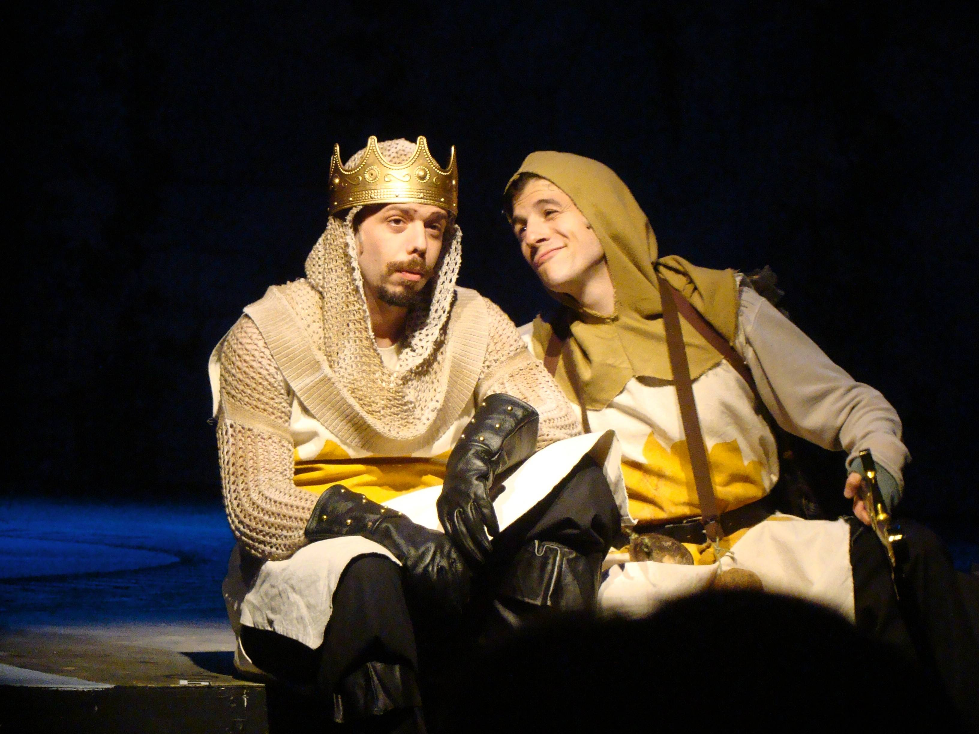 "King Arthur (Joe Bianco), left, and Patsy (Ryan J. Duncan) rest a moment in Metropolis Performing Arts Centre's production of ""Spamalot."" The Monty Python music runs through Oct. 25."