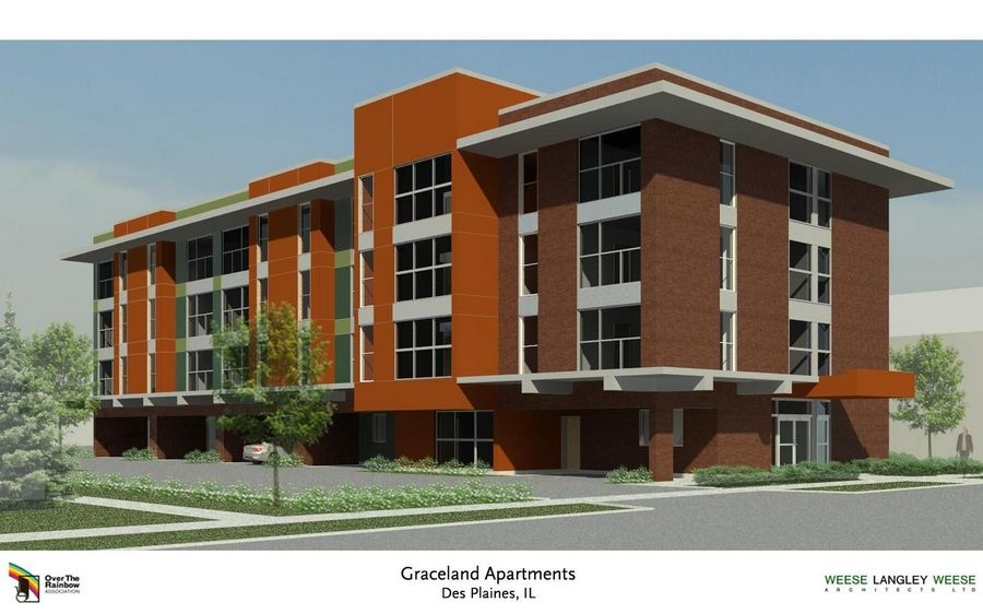 An artist's rendering shows the proposed four-story, 33-unit apartment building in Des Plaines intended for people with physical disabilities. The city council approved zoning variances for the project Monday.