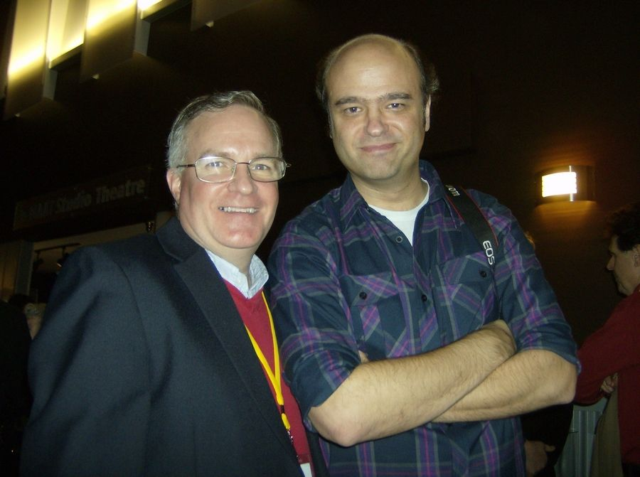Metropolis Performing Arts Centre Executive Director Joe Keefe poses with comedian and actor Scott Adsit.