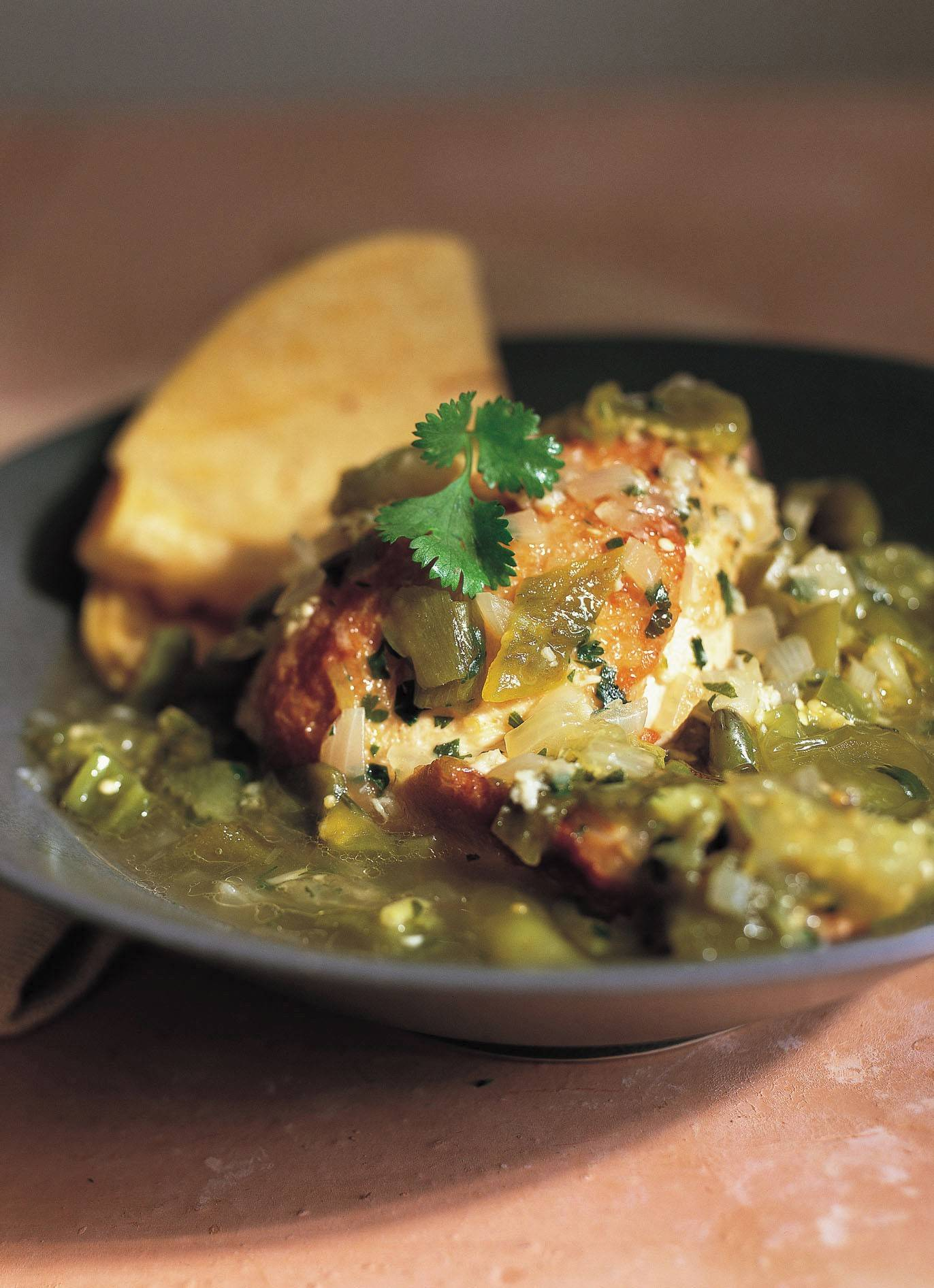 Chicken with roasted tomatillo sauce a great dish for small gathering