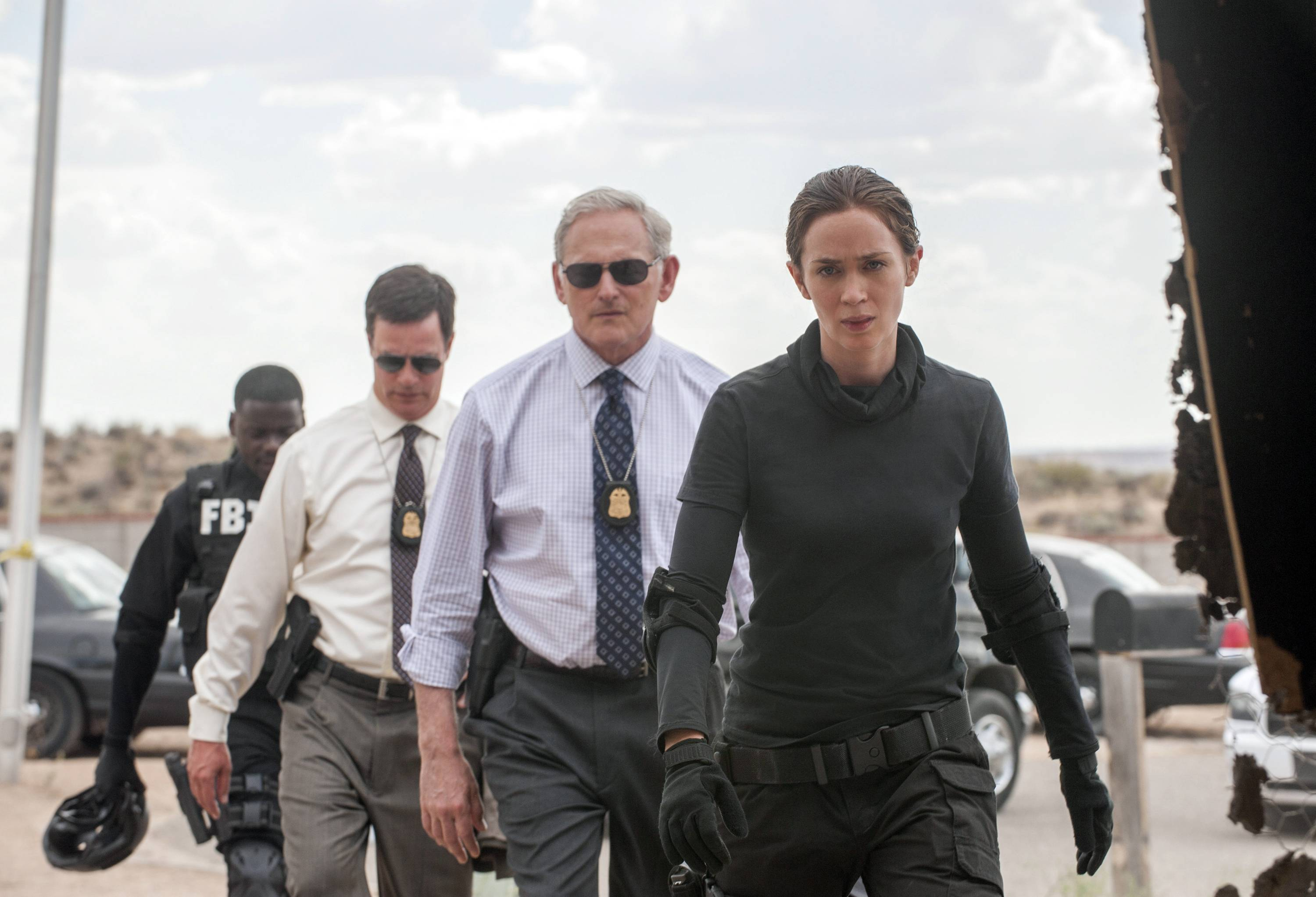 "Kate Macer (Emily Blunt) takes on the Mexican drug cartels in ""Sicario,"" also starring Daniel Kaluuya, left, Phil Coopers and Victor Garber."