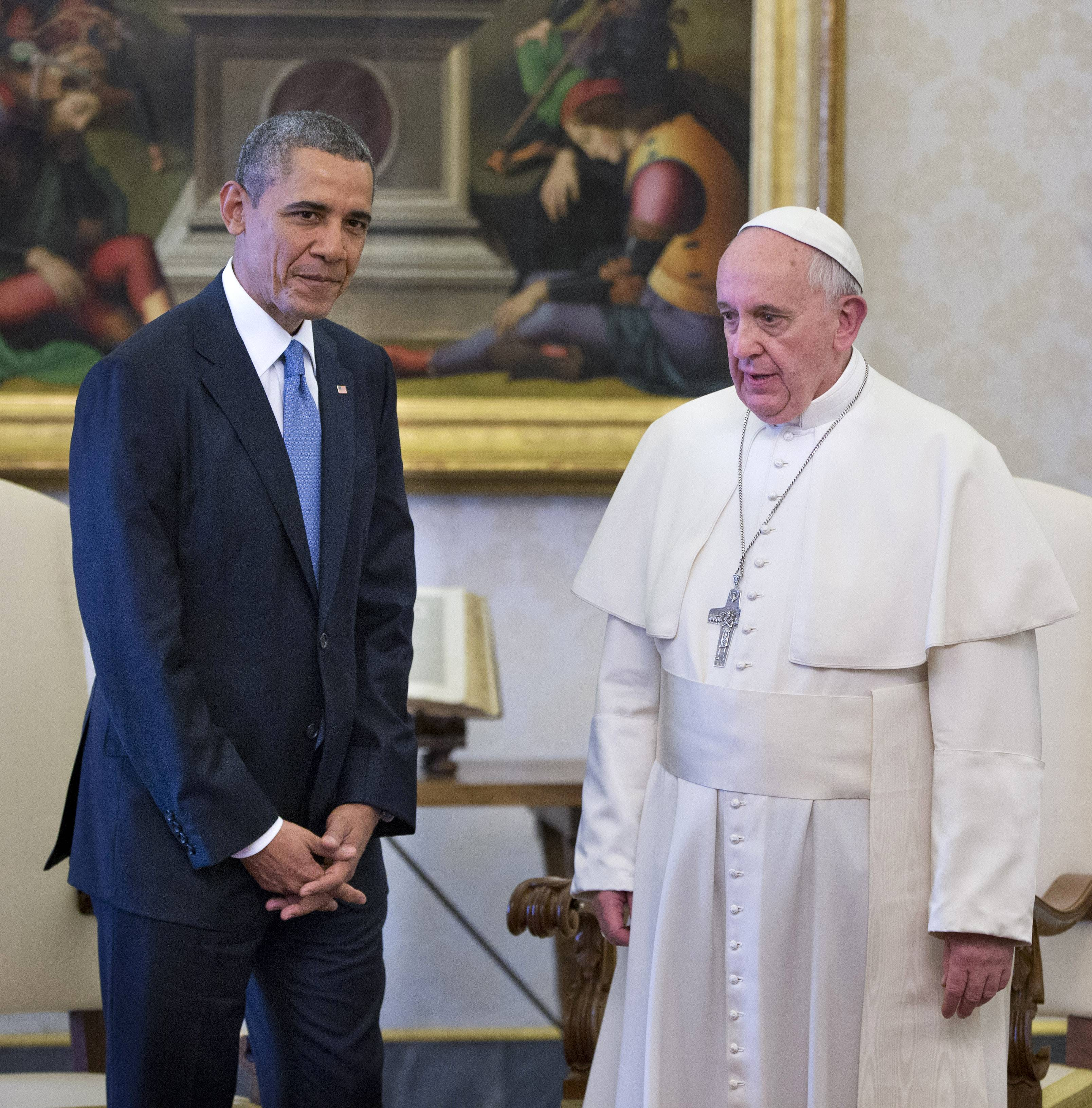 Pope Francis, shown meeting at the Vatican last year with President Barack Obama, describes climate change as a global problem with grave implications requiring a bold cultural revolution. The pope is bringing that message this week to Washington, D.C., where he is expected to call on faith-based organizations to rally for action on climate change.