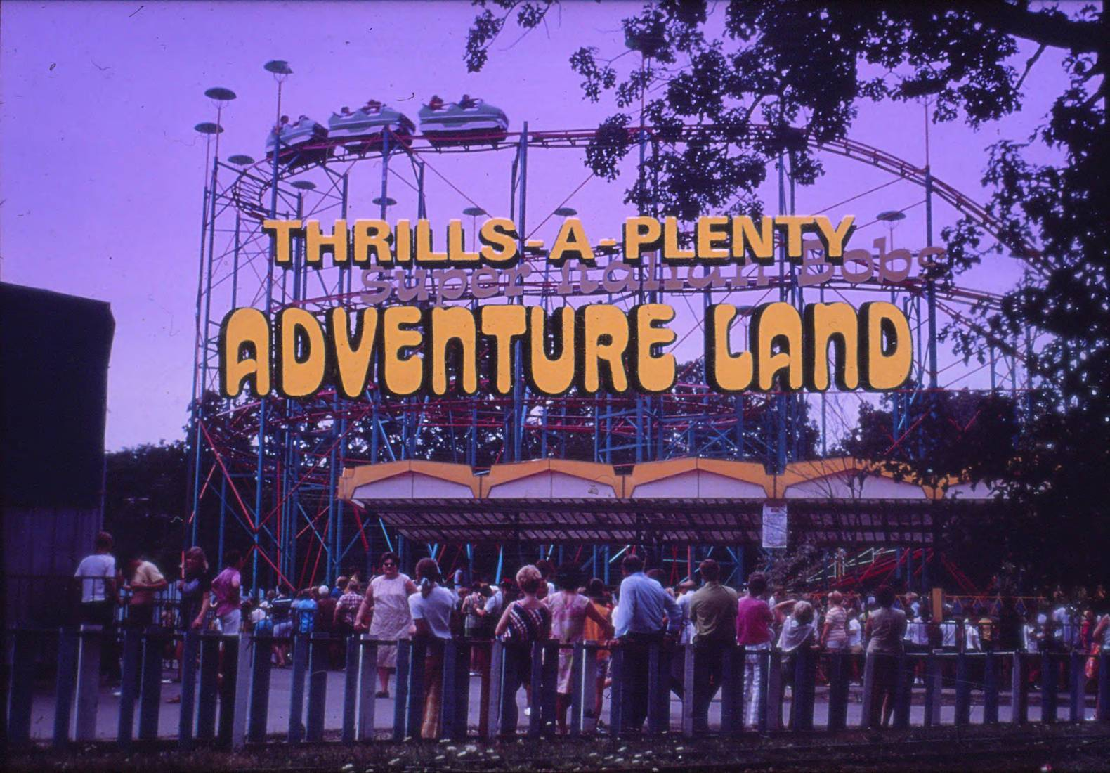 Super Italian Bobs roller coaster featured on an ad for Adventure Land in Addison.