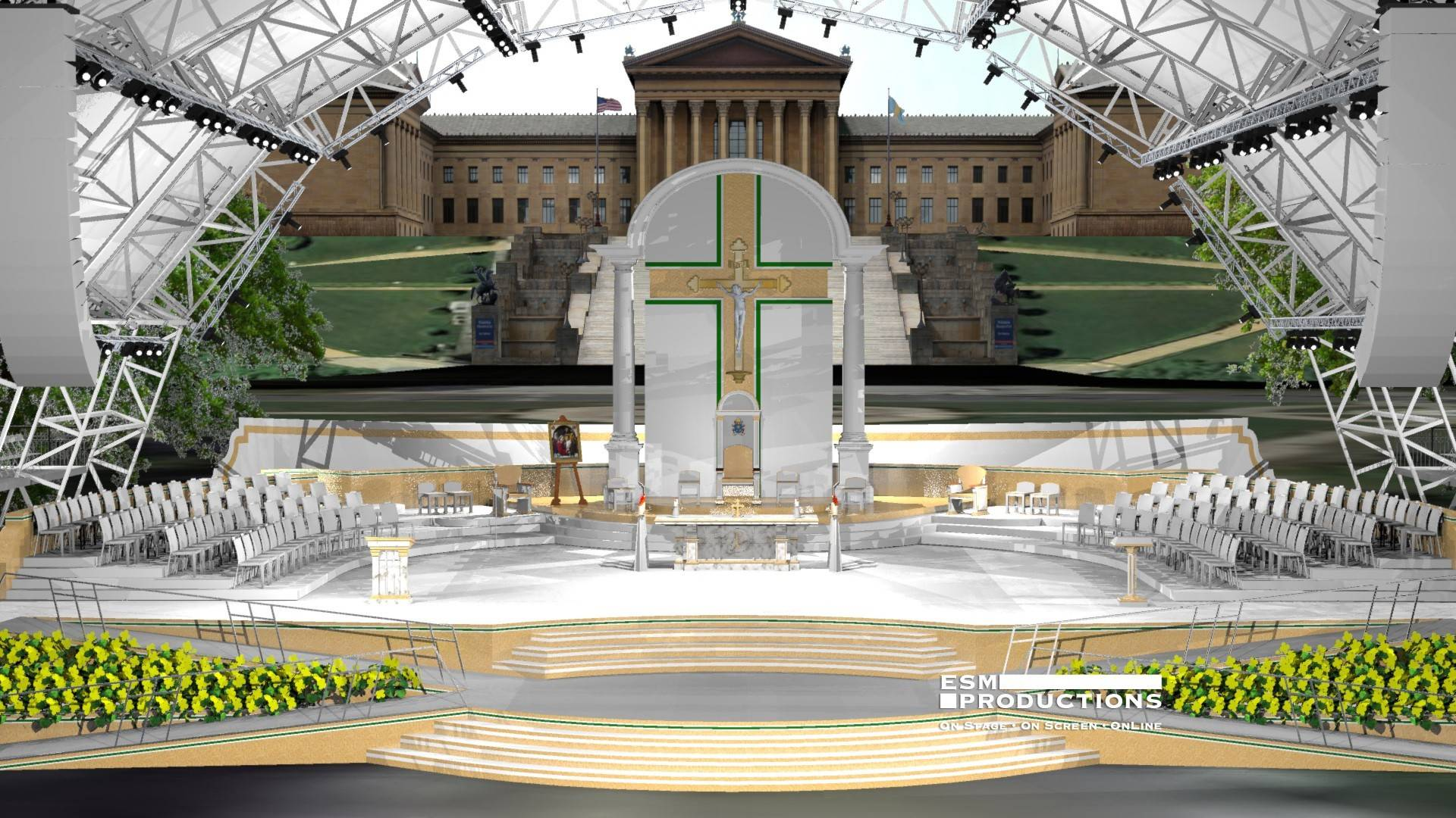 Pope Francis will preside over a sea of crowds from this sanctuary in front of the Philadelphia Museum of Art. It was inspired by a design by Glen Ellyn native Jim Lenahan.