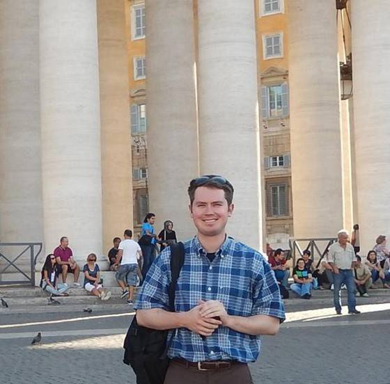 While studying in Rome, Jim Lenahan, pictured at St. Peter's Square, learned of a contest open to architecture students to design the sanctuary where Pope Francis will preside over a Sunday Mass in Philadelphia.