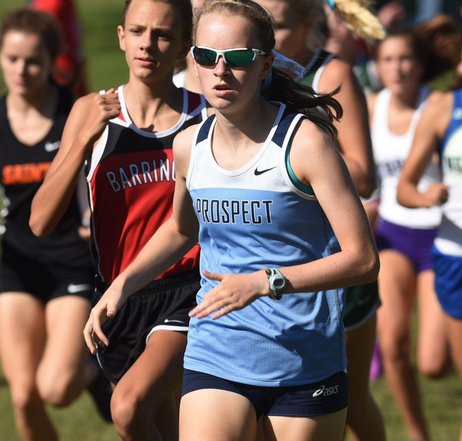 Prospect's Brooke Wilson is out front shortly after the start of the Palatine Invitational at Deer Grove East Forest Preserve on Saturday.