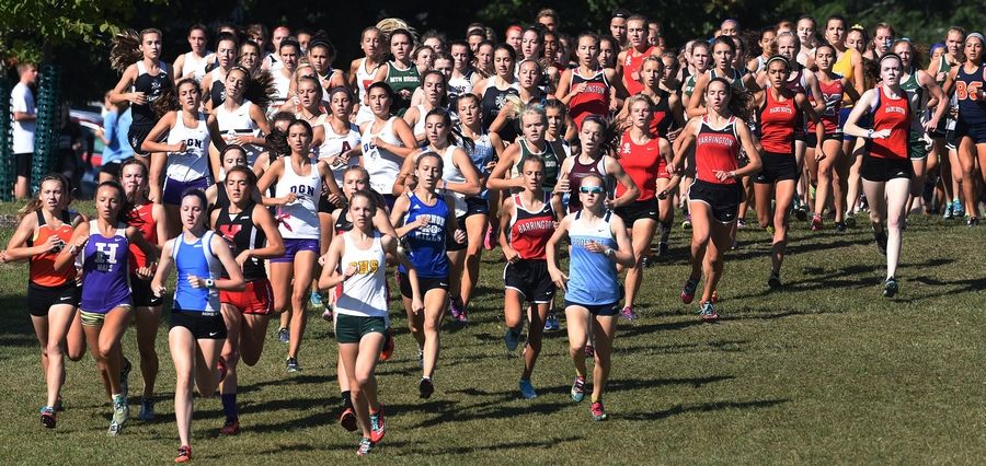 Competitors in the girls' race run downhill following the start of the Palatine Invitational at Deer Grove East Forest Preserve on Saturday.