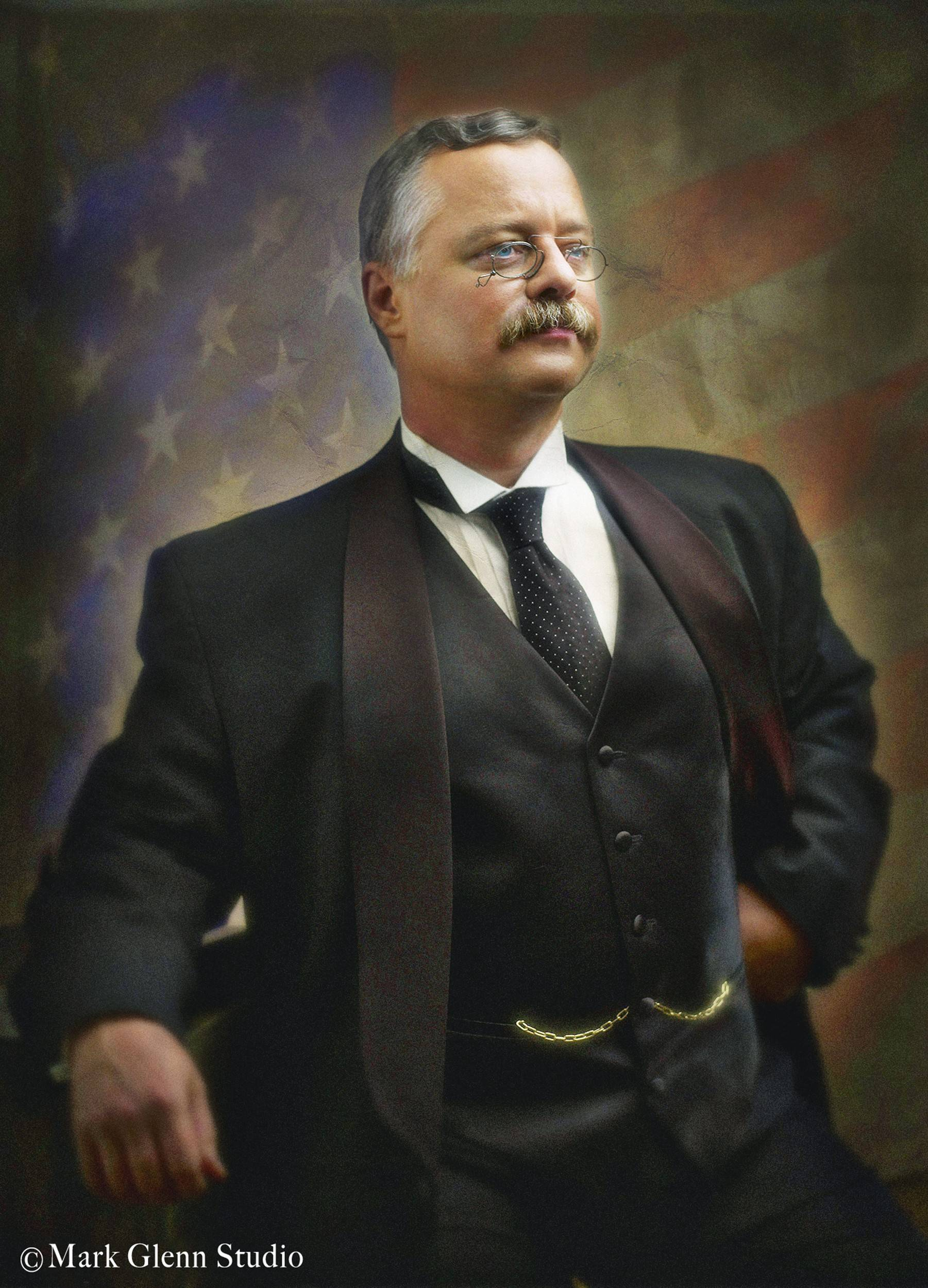 Actor and Theodore Roosevelt impersonator Joe Wiegand, pictured, portrays Roosevelt in a program at the Batavia Public Library.