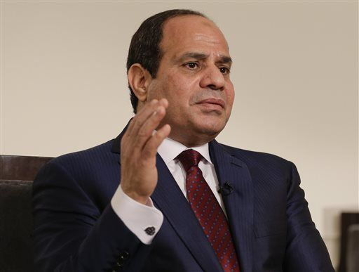 Egyptian President Abdel Fattah el-Sisi answers questions during an interview, Saturday, Sept. 26, 2015, in New York. Sisi discussed various issues including Egypt's role in the Middle East, his country's work on an expansion project to the Suez Canal, and relations with the United States.