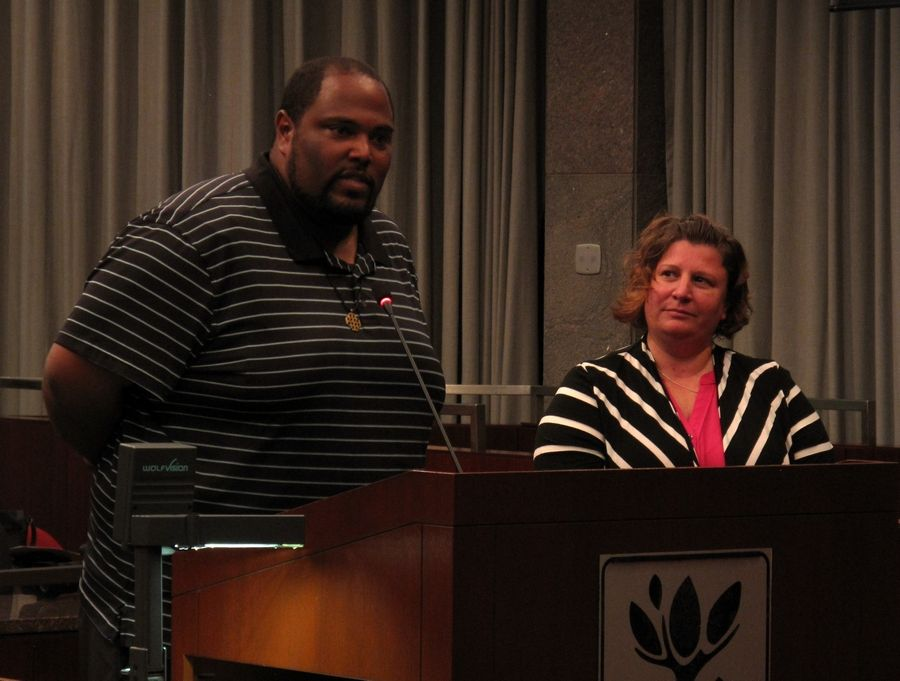 "Carl Evans, director of programs and operations for the nonprofit Hope for the Day, and Annmarie Parker of Nickel A Day Films introduce their short film ""I'm Fine"" to Naperville City Council members who supported the project with a grant of nearly $15,000."
