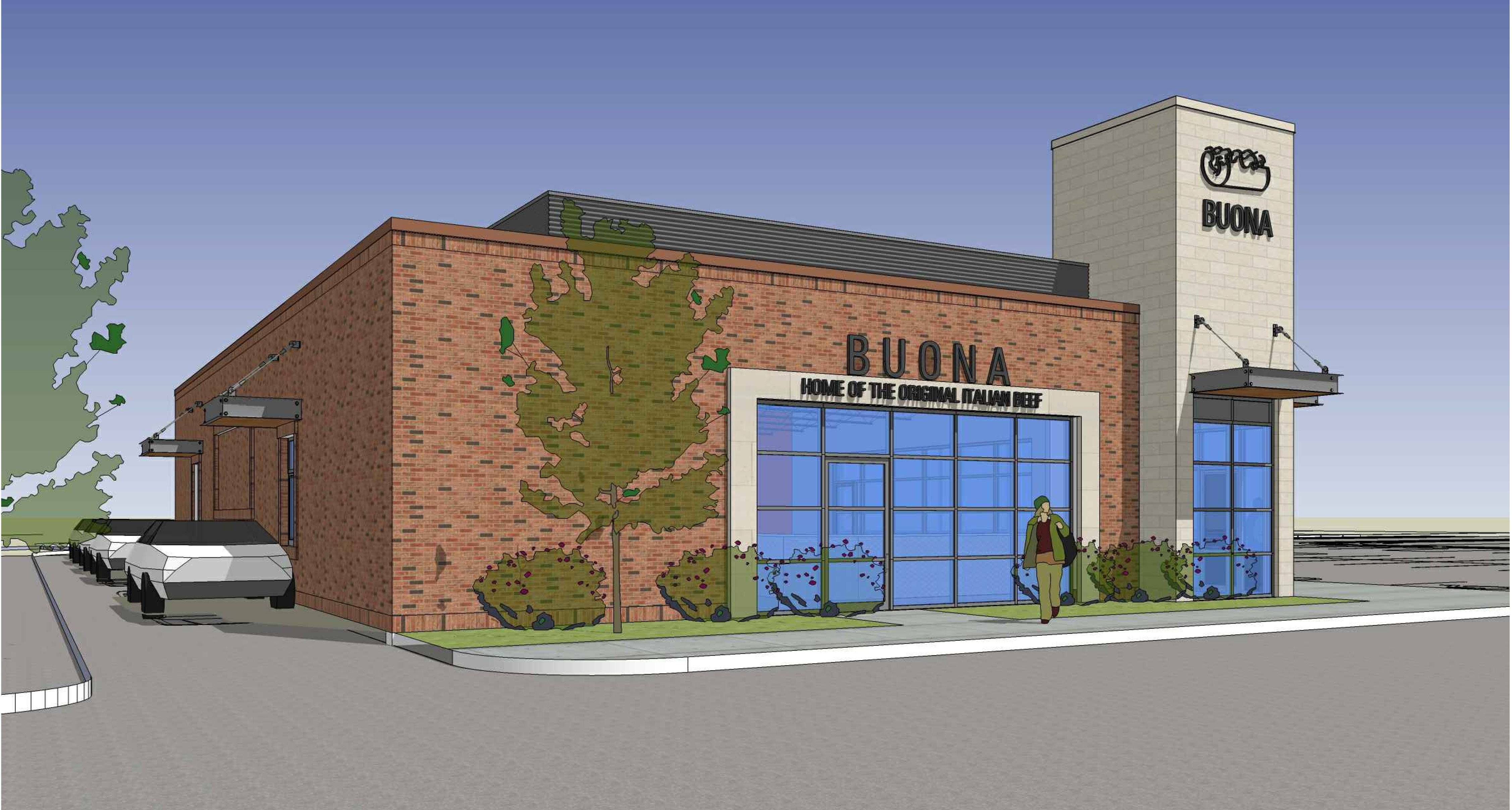 This rendering shows the proposed design for a new Buona Beef restaurant in Algonquin.