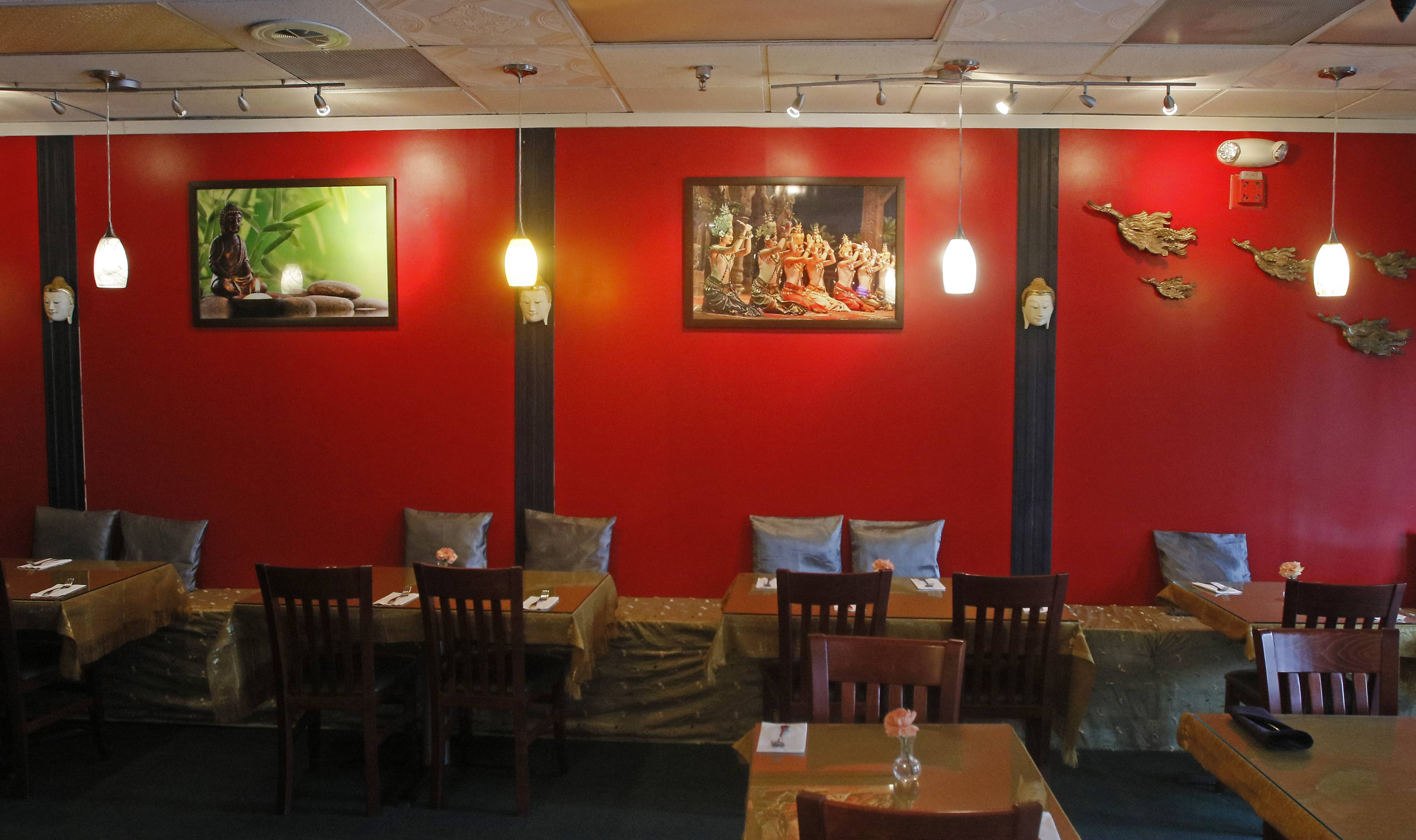 The subdued atmosphere makes conversation easy at Khao Suay Thai in Naperville.