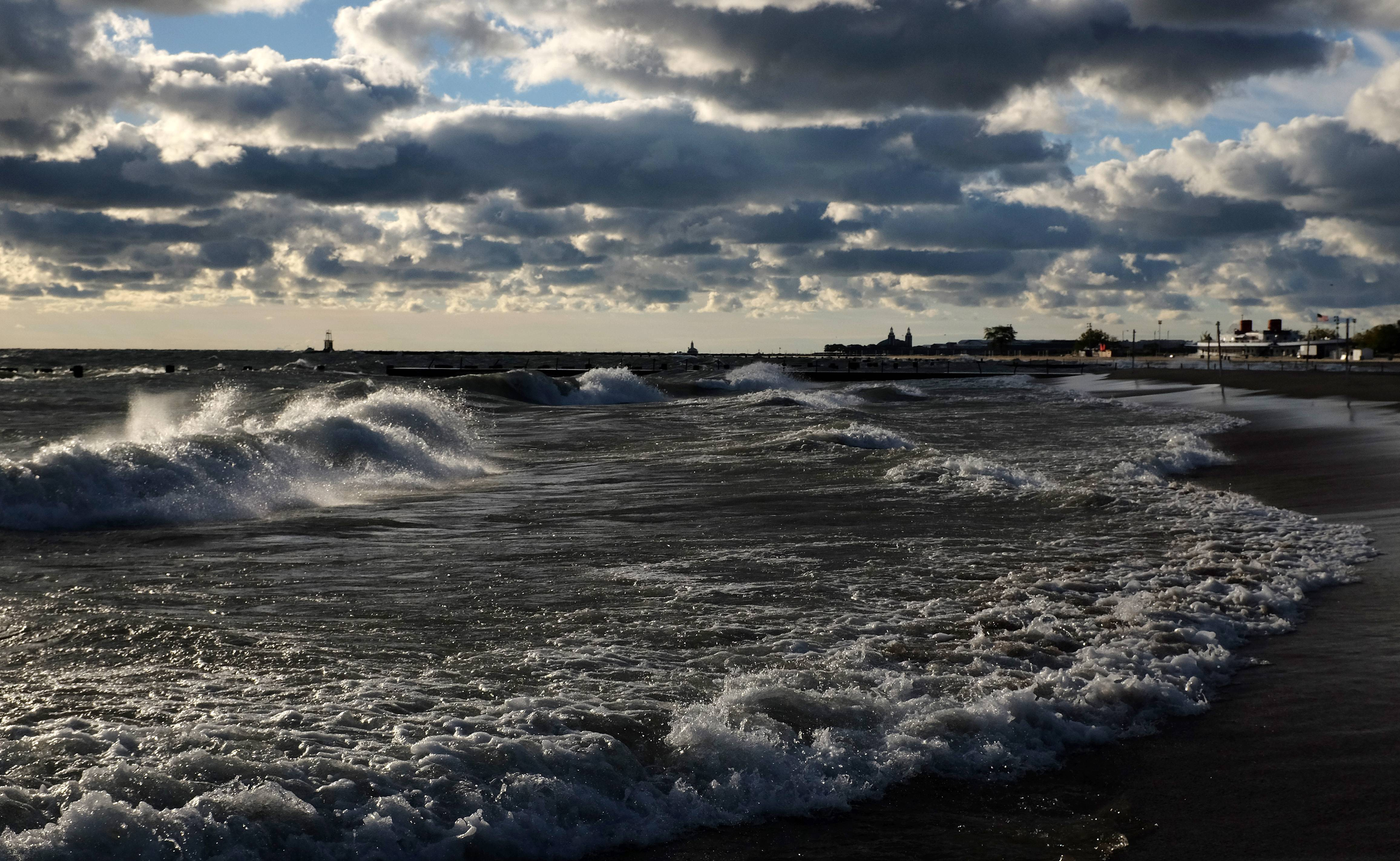 High winds may cause flooding today along the lakeshore, the National Weather Service warns.