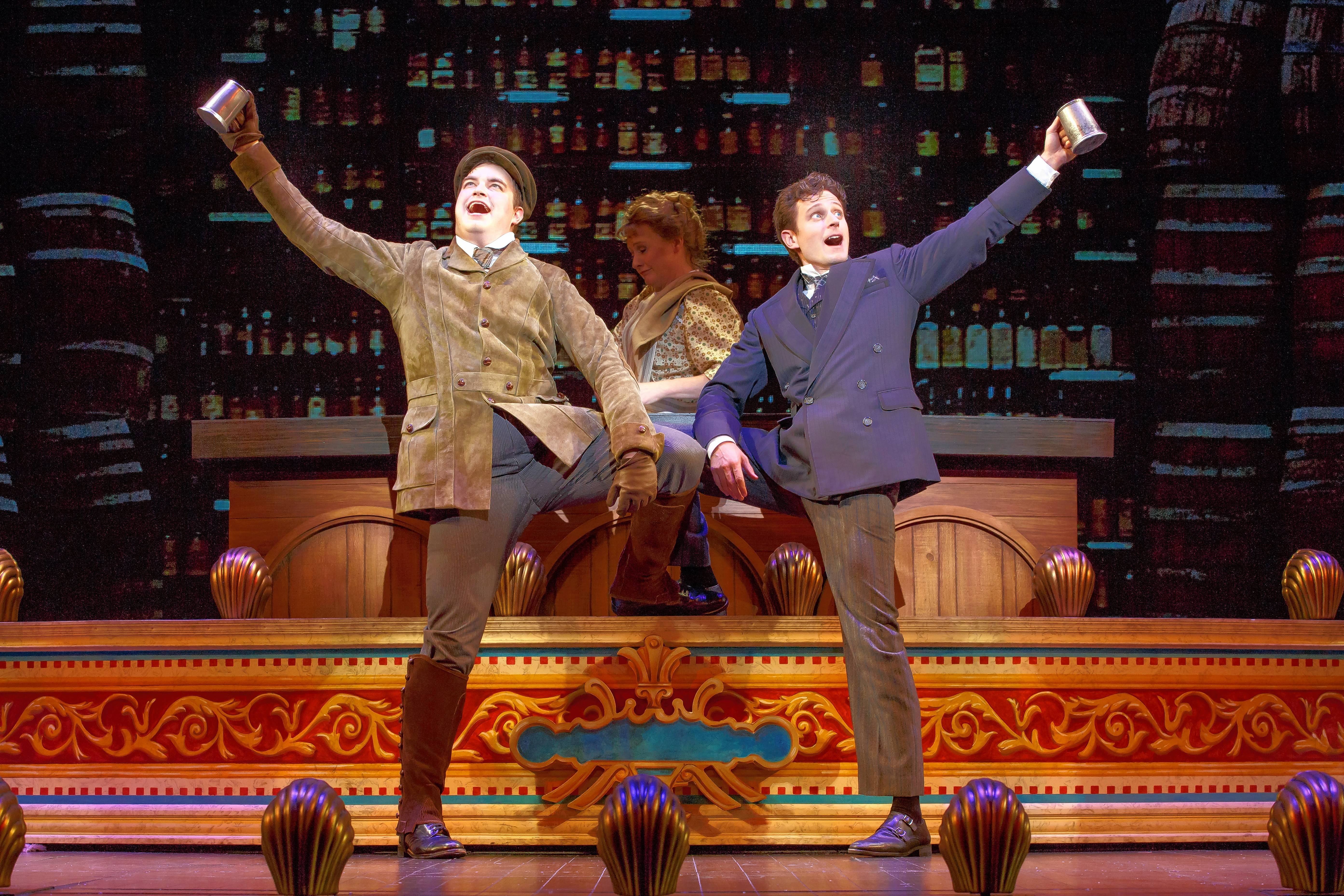 "Henry D'Ysquith (John Rapson), left, sings ""Better With a Man"" with a scheming Monty Navarro (Kevin Massey) in the national tour of the Tony Award-winning ""A Gentleman's Guide to Love & Murder,"" now playing Chicago's Bank of America Theatre."
