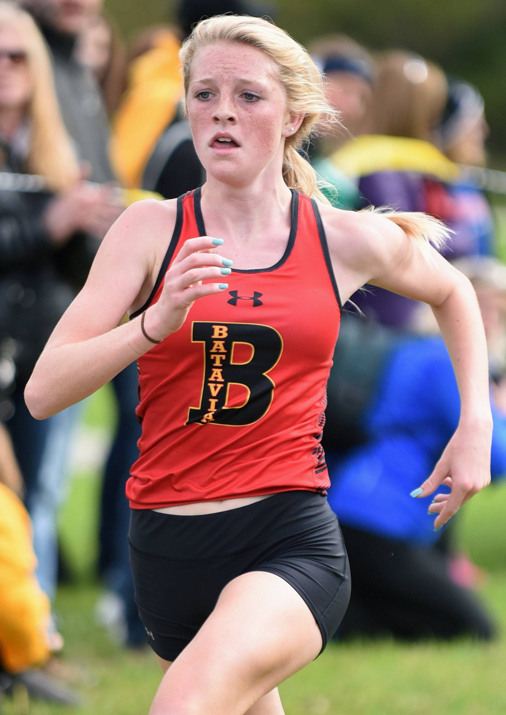 Batavia's Emma Stephens takes fourth place in the girls varsity run with a time of 17:57. 2 at the St. Charles North cross country invitational at LeRoy Oakes Saturday.