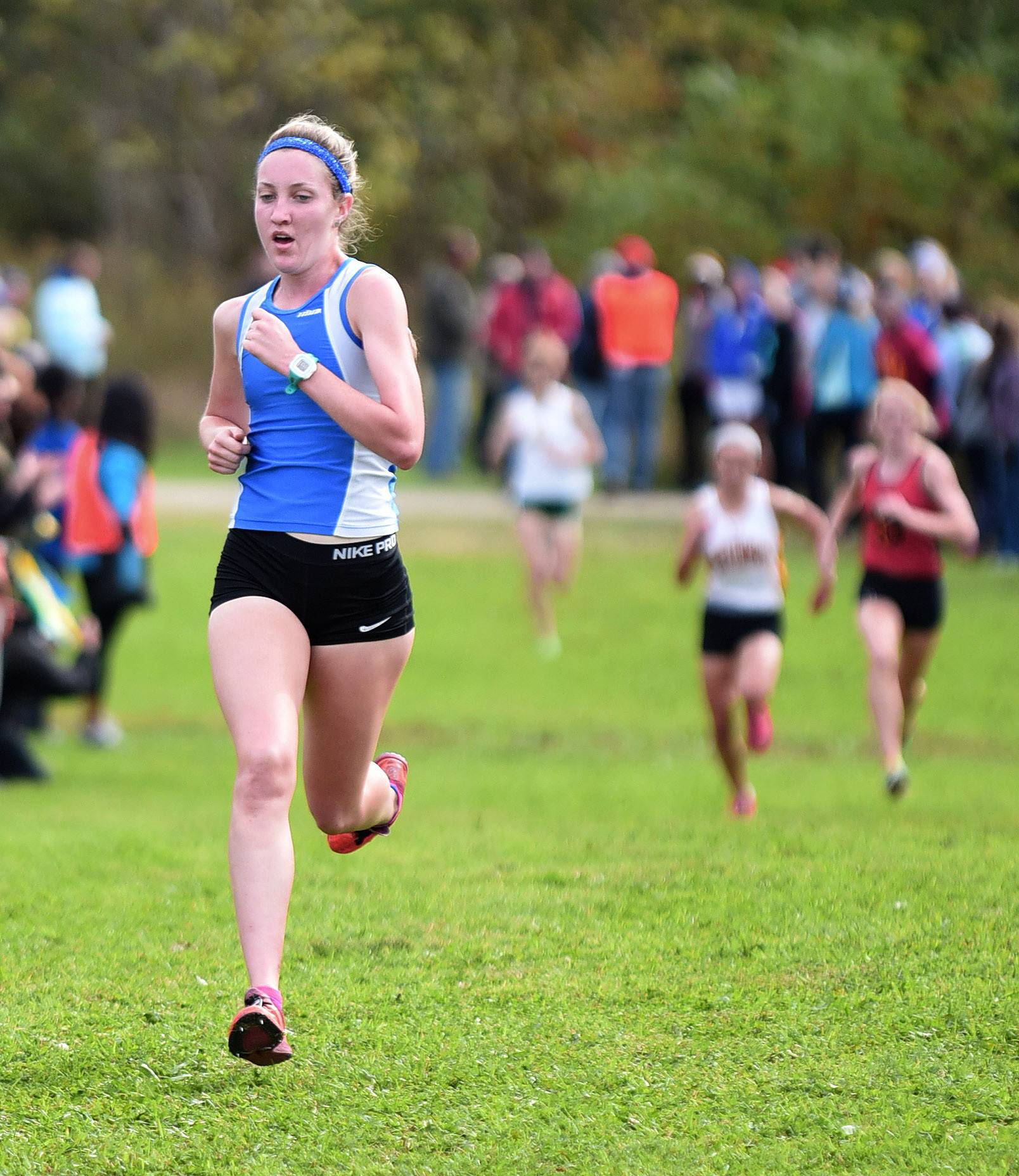 Lake Zurich's Caitlin Shepard takes second place in the girls varsity run with a time of 17:52.6 at the St. Charles North cross country invitational at LeRoy Oakes Saturday.