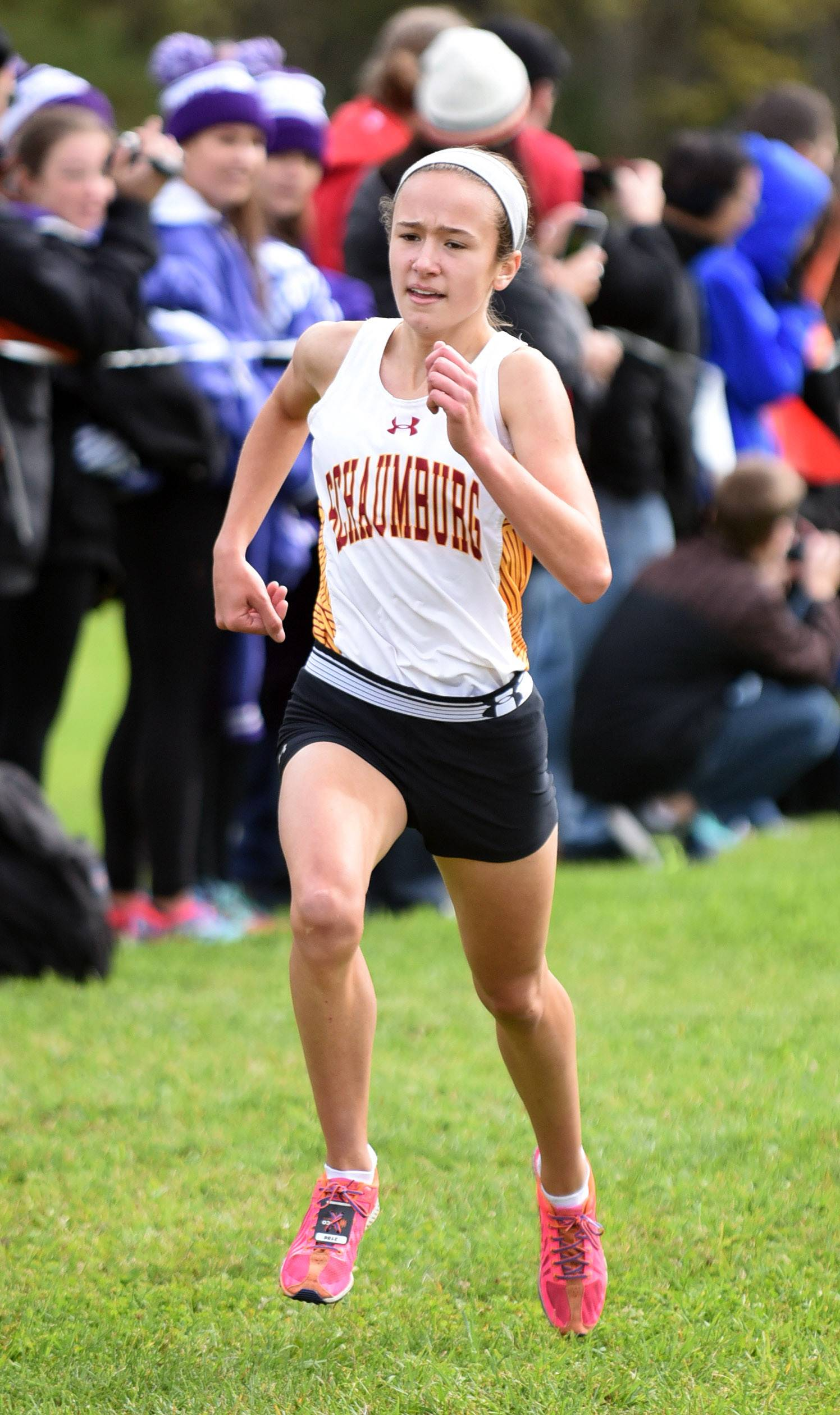 Schaumburg's Maddie Marasco takes third place in the girls varsity run with a time of 17:56.4 at the St. Charles North cross country invitational at LeRoy Oakes Saturday.