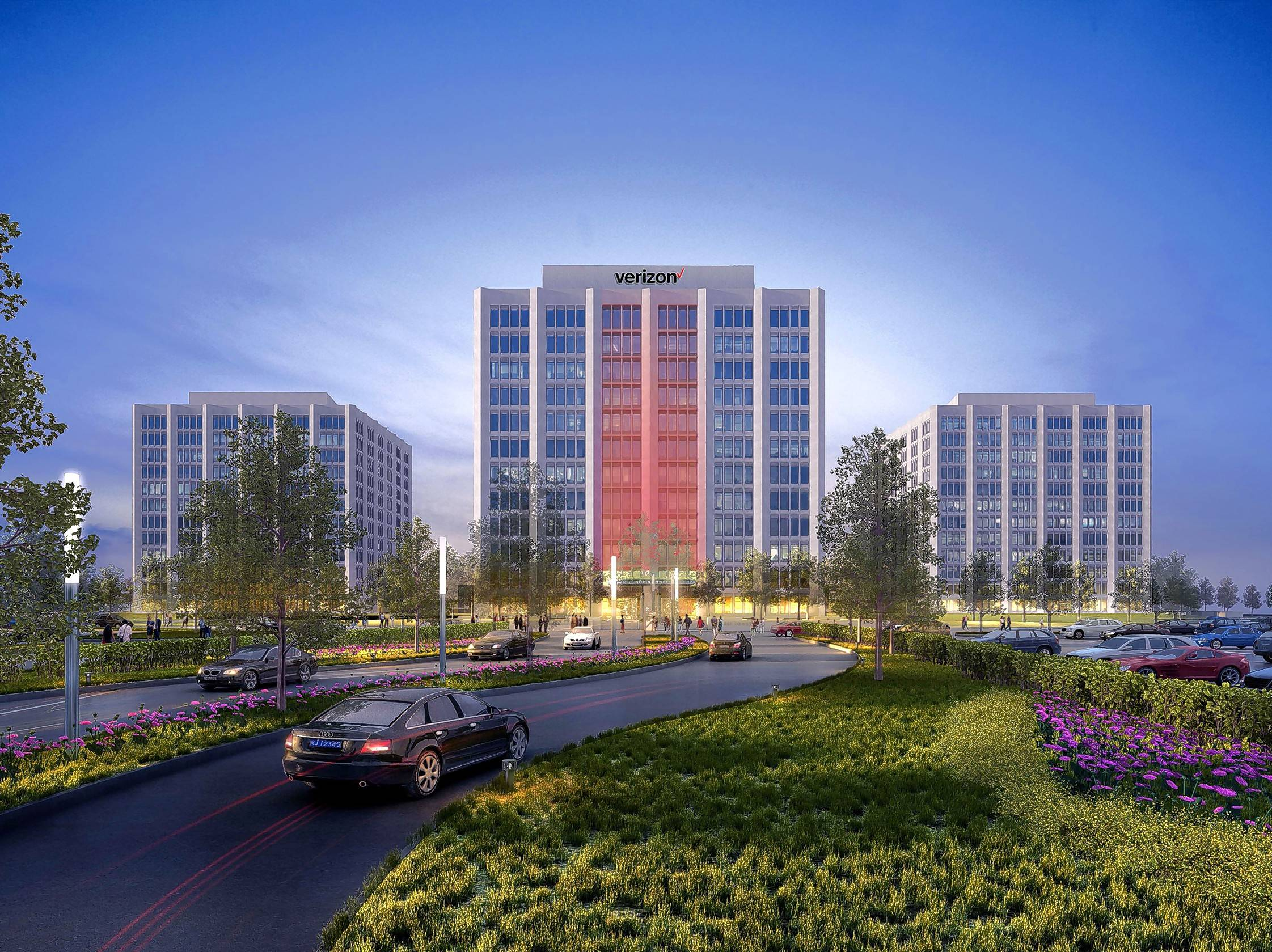 This photo rendering shows the middle office building at Continental Towers with the Verizon name, which likely will be added by February. The company is moving about 900 workers from Elgin into the larger Rolling Meadows office.