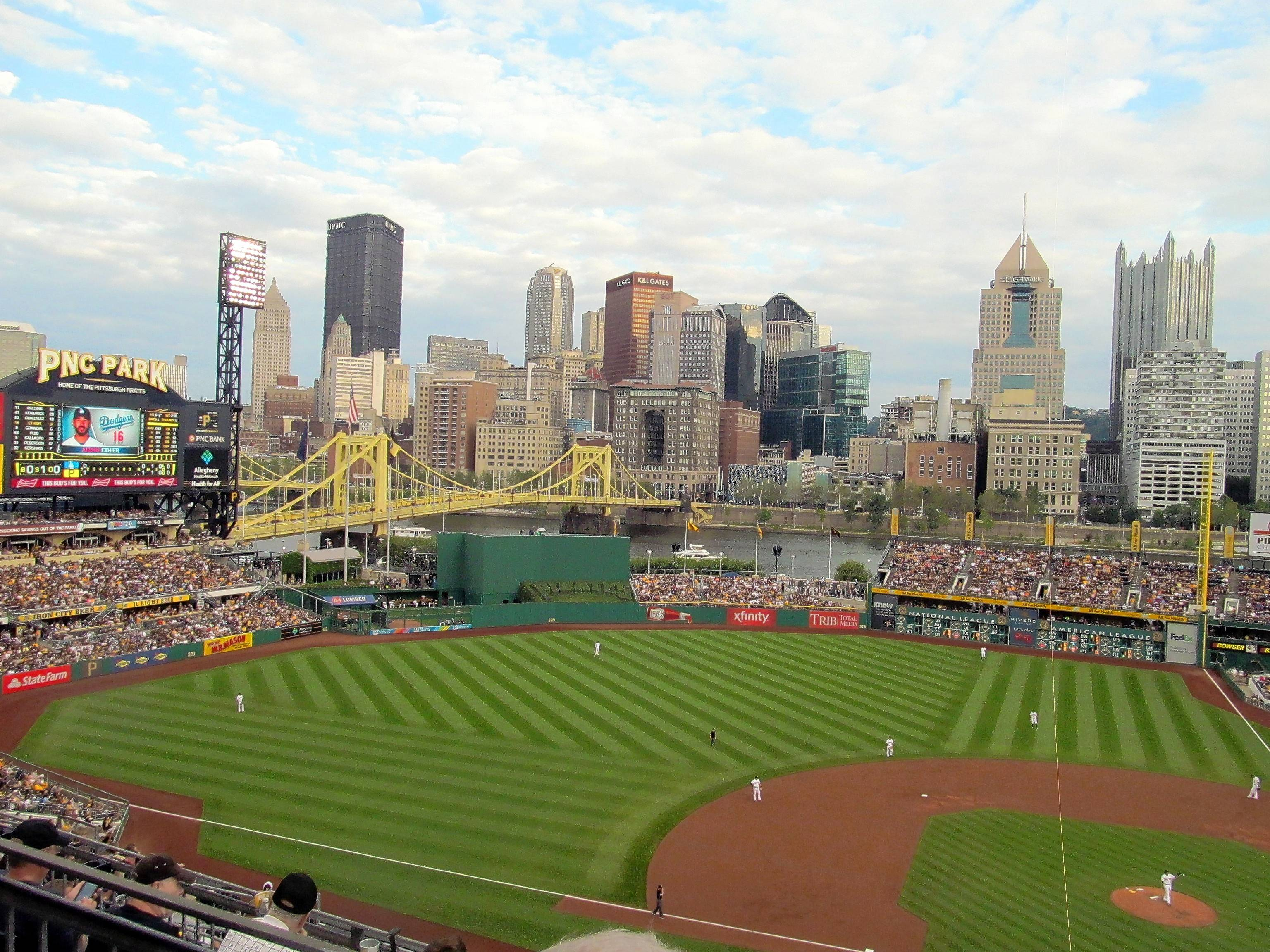 PNC Park is just one of many lookout points from which to get a great view of the fun that is Pittsburgh. Seen here from the upper deck along the third-base line, more of the skyline comes into view as you climb higher into the stands.