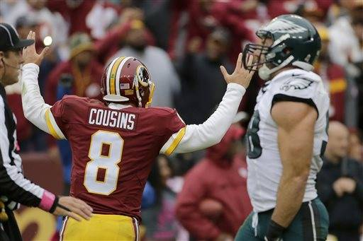 NFL Jerseys Official - Kirk Cousins' late TD pass lifts Redskins past Eagles 23-20