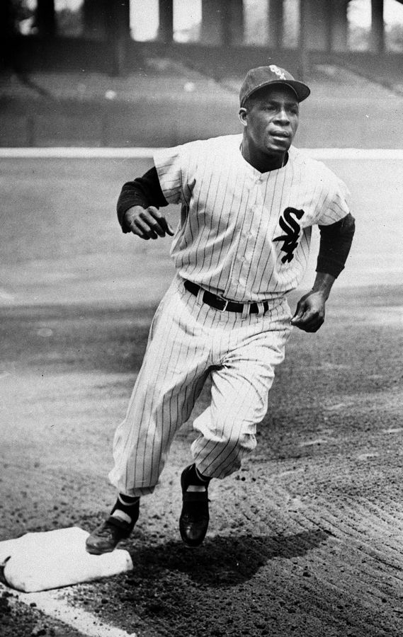 Minnie Minoso, Chicago White Sox outfielder, practices running the bases at Comiskey Park , June 1, 1955, following his release from the hospital, after being beaned during a Yankees game. Minoso was rejected last year by the Golden Era Committee.