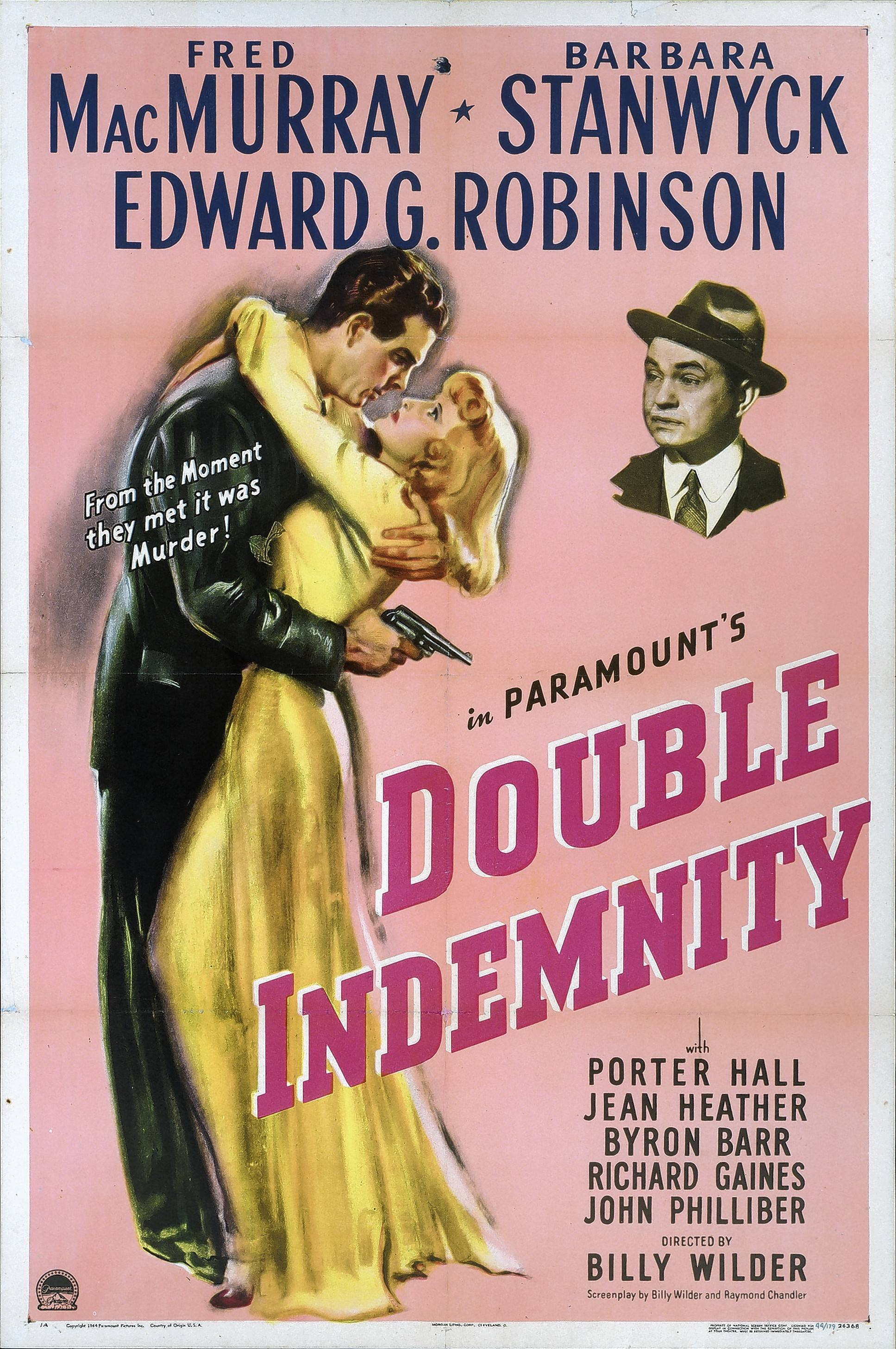 """Double Indemnity,"" starring Fred MacMurray and Barbara Stanwyck, exemplified the emerging film noir genre during World War II. The 1944 drama was directed by Billy Wilder, a Jewish filmmaker who fled the Nazis."