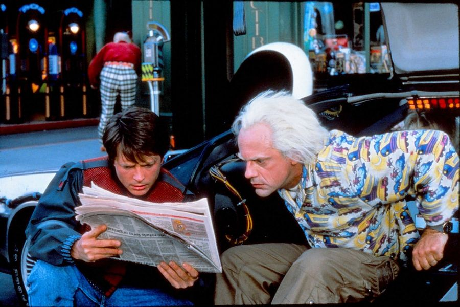 "In ""Back to the Future Part II"", Marty McFly, played by Michael J. Fox, and Doc Brown, played by Christopher Lloyd, read the newspaper in 2015. One of the headlines was the Cubs winning the World Series."