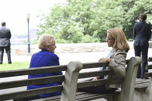 "Former Secretary of State Madeleine Albright, left, appeared with actress Tea Leoni, who portrays U.S. Secretary of State Elizabeth McCord, in ""Madam Secretary"" at 7 p.m. Sunday."