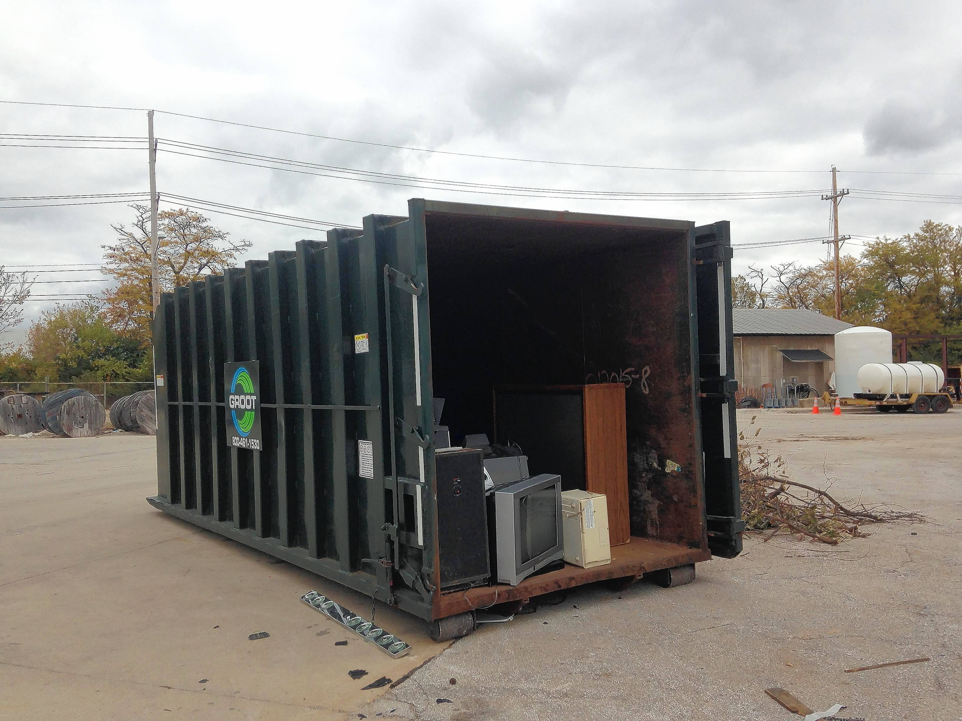 This is one of two containers in the Batavia public works yard where people drop off electronics items, including television sets, for recycling. The city is considering leaving the program that is run by Kane County.