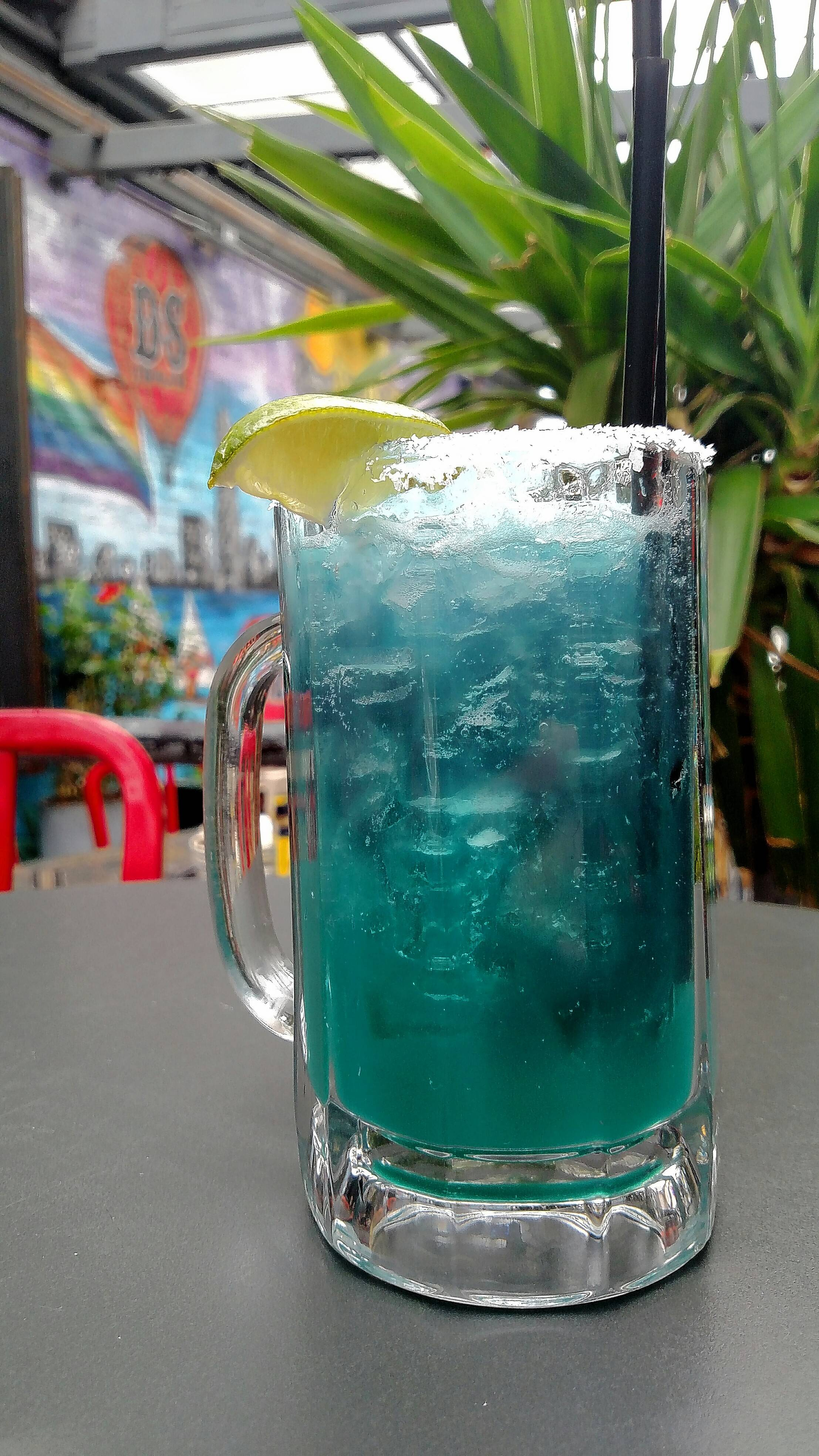 A bright blue margarita pays tribute to the Cubs at D.S. Tequila Co. on Halsted Street.