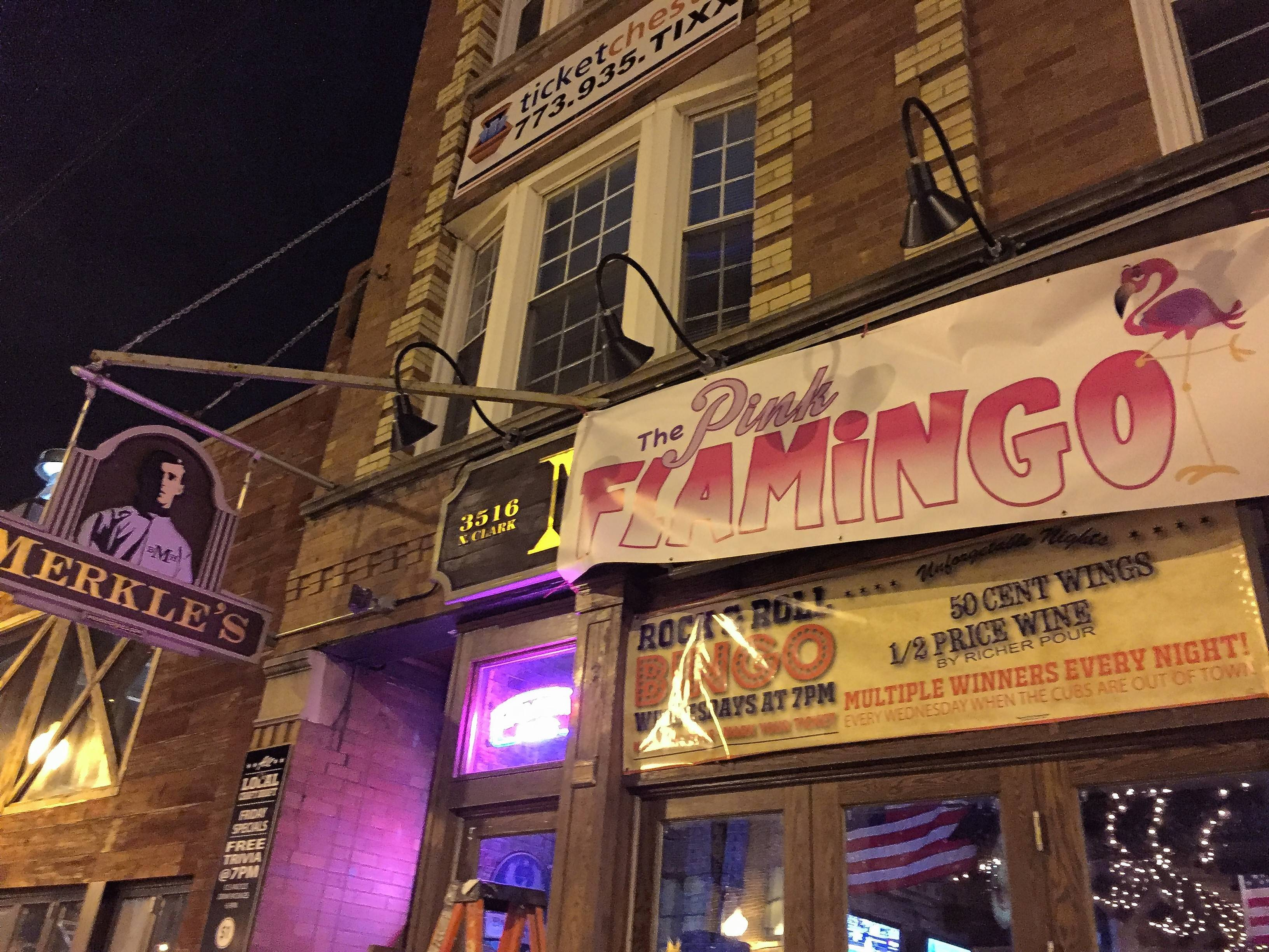 "In honor of Cubs manager Joe Maddon, who once said he wanted to own a bar called The Pink Flamingo, Wrigleyville's Merkle's Bar and Grill has officially renamed the bar ""The Pink Flamingo"" for the playoffs."
