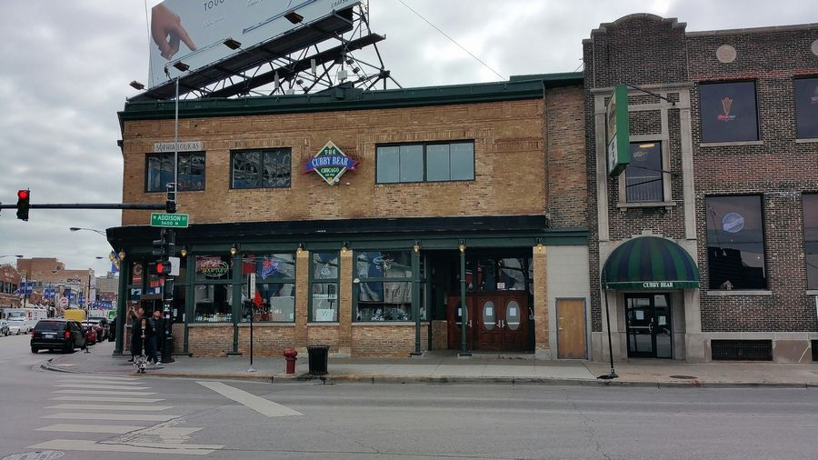 The Cubby Bear occupies a key spot across from the Wrigley Field marquee.
