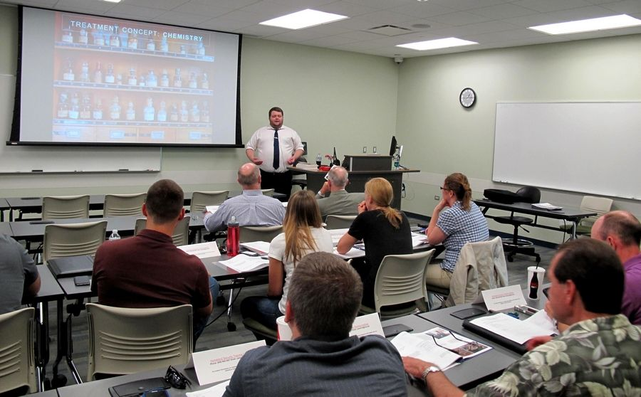 Branches of the National Alliance for Mental Illness offer Mental Health First Aid training classes for police officers, such as this one at the College of DuPage. The classes teach signs and symptoms of mental illnesses as well as how to direct those in need to support.