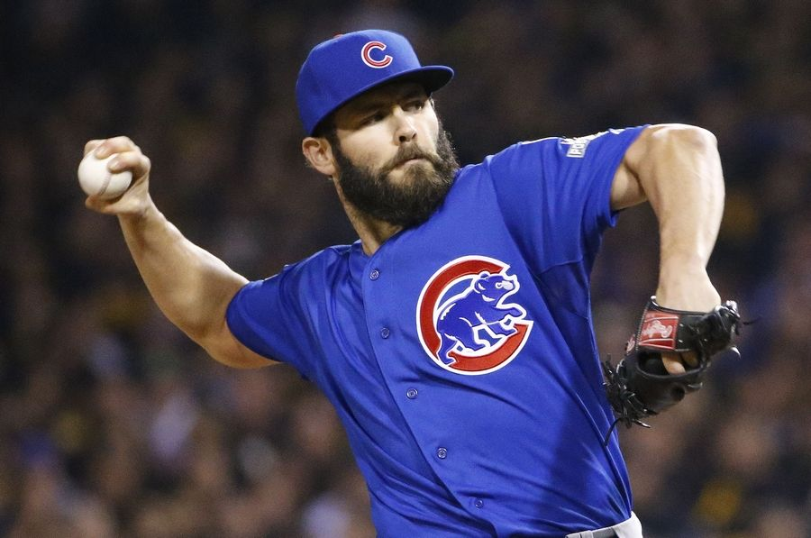 Chicago Cubs starting pitcher Jake Arrieta throws against the Pittsburgh Pirates in the first inning of the National League wild card baseball game, Wednesday, Oct. 7, 2015, in Pittsburgh.