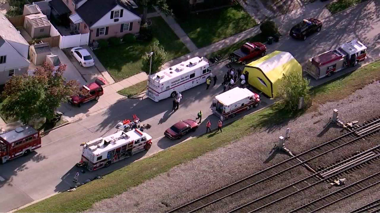 An aerial view of the hazardous materials incident that shut down the BNSF train line near Brookfield Monday afternoon.