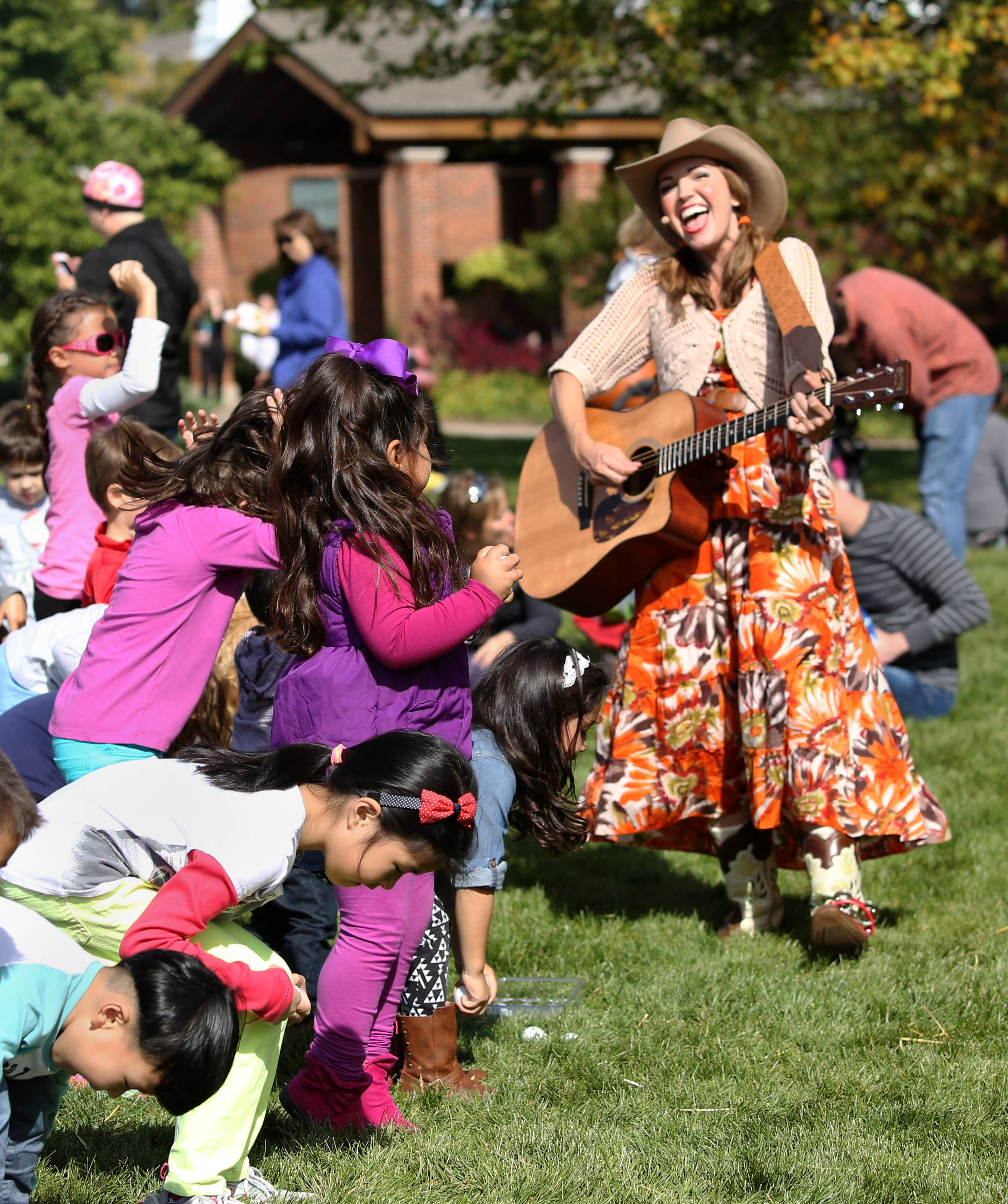 Jamie Martin performs her Miss Jamie's Farm Kids Music Show during the Cantigny Park one-day fall festival, Saturday, October 10, 2015 in Wheaton. A professional actress and singer, Jamie Martin takes kids on an imaginative adventure to her farm where they learn the values of hard work, kindness and healthy eating.