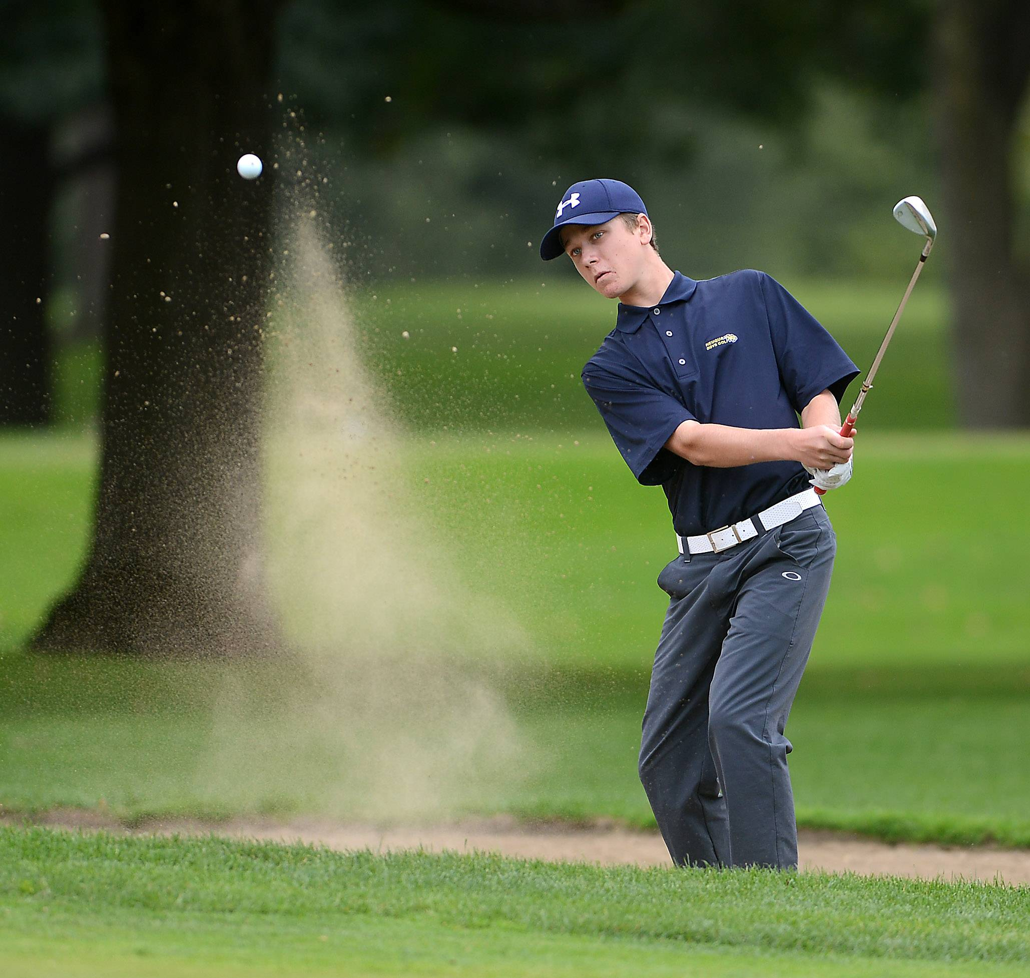 Jack Vercauteren of Neuqua Valley puts in on the green from the sand during the St. Charles East boys golf sectional at St. Andrews Golf Club in West Chicago Monday.