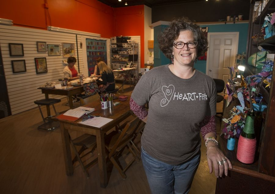 "Lucy Dallman has opened heARTfelt create, a studio, professional gallery and ""inspiration nook"" rolled into one space in the Banyan Tree mall on Main Street in downtown Glen Ellyn."