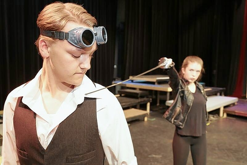 Tybalt, right, played by Molly Mensch, challenges Romeo, played by Danny Hollander.