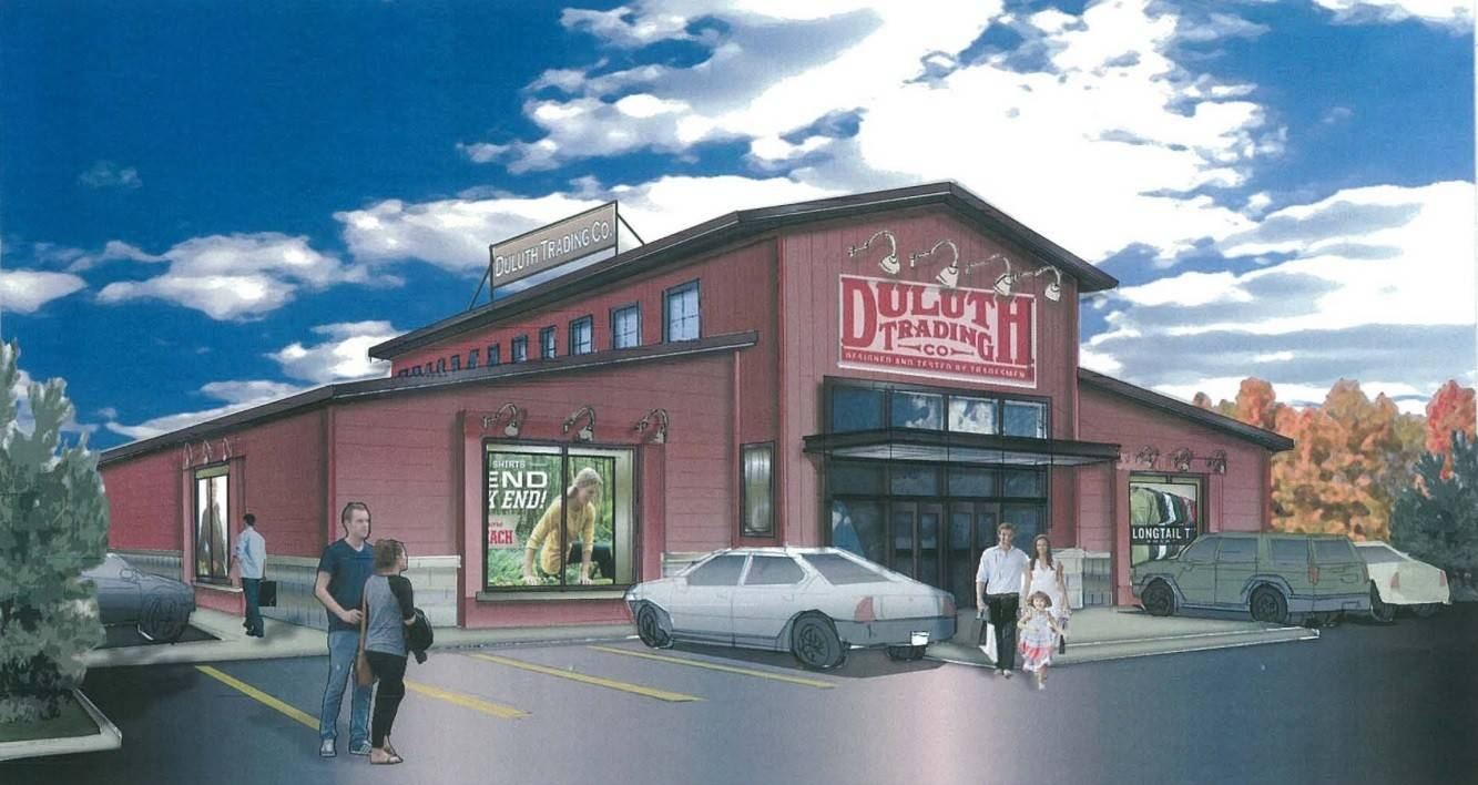A rendering of the proposed Duluth Trading Co. retail store planned for Hoffman Estates' Prairie Stone Business Park.
