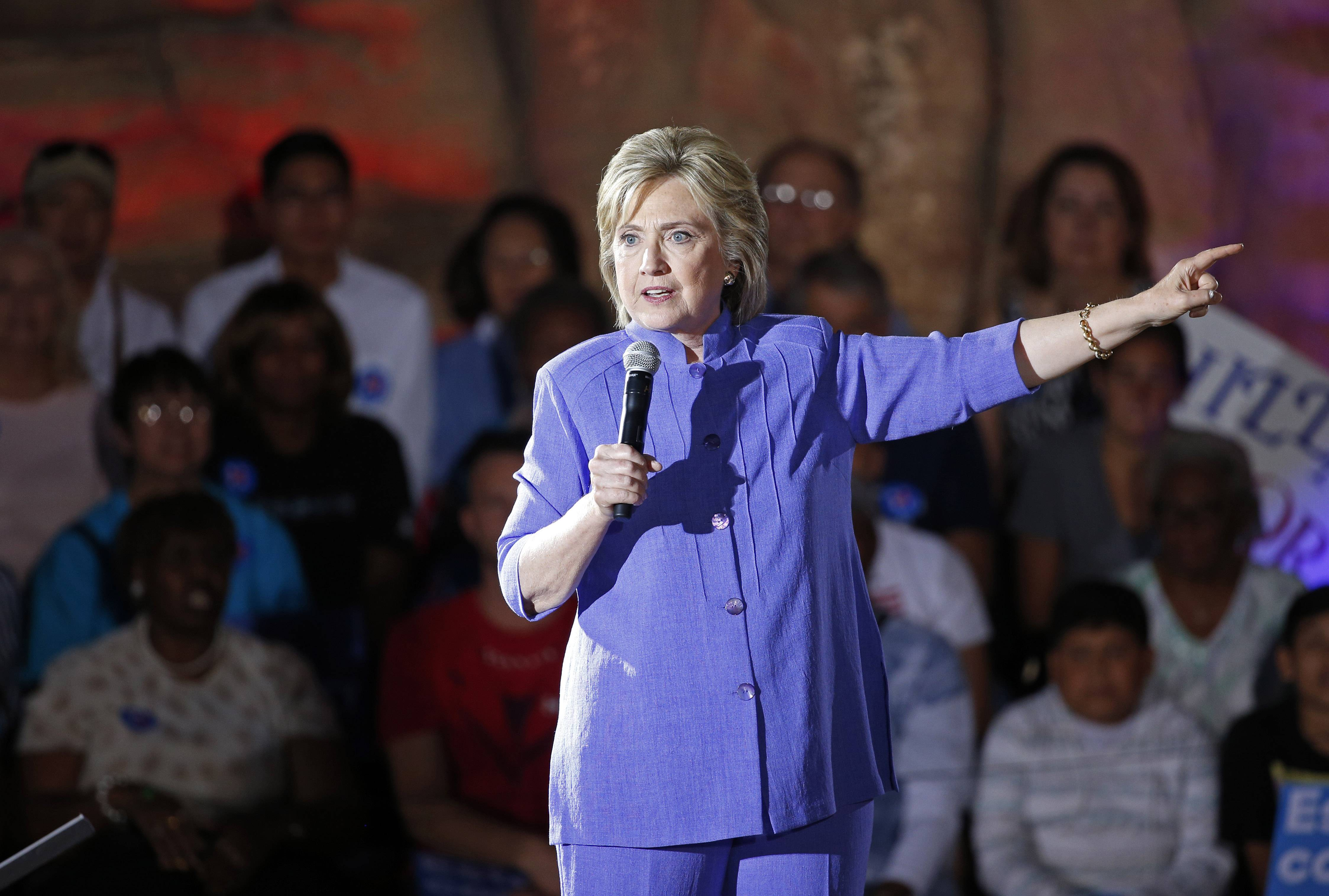 Democratic presidential candidate Hillary Clinton speaks at a rally Wednesday in Las Vegas.